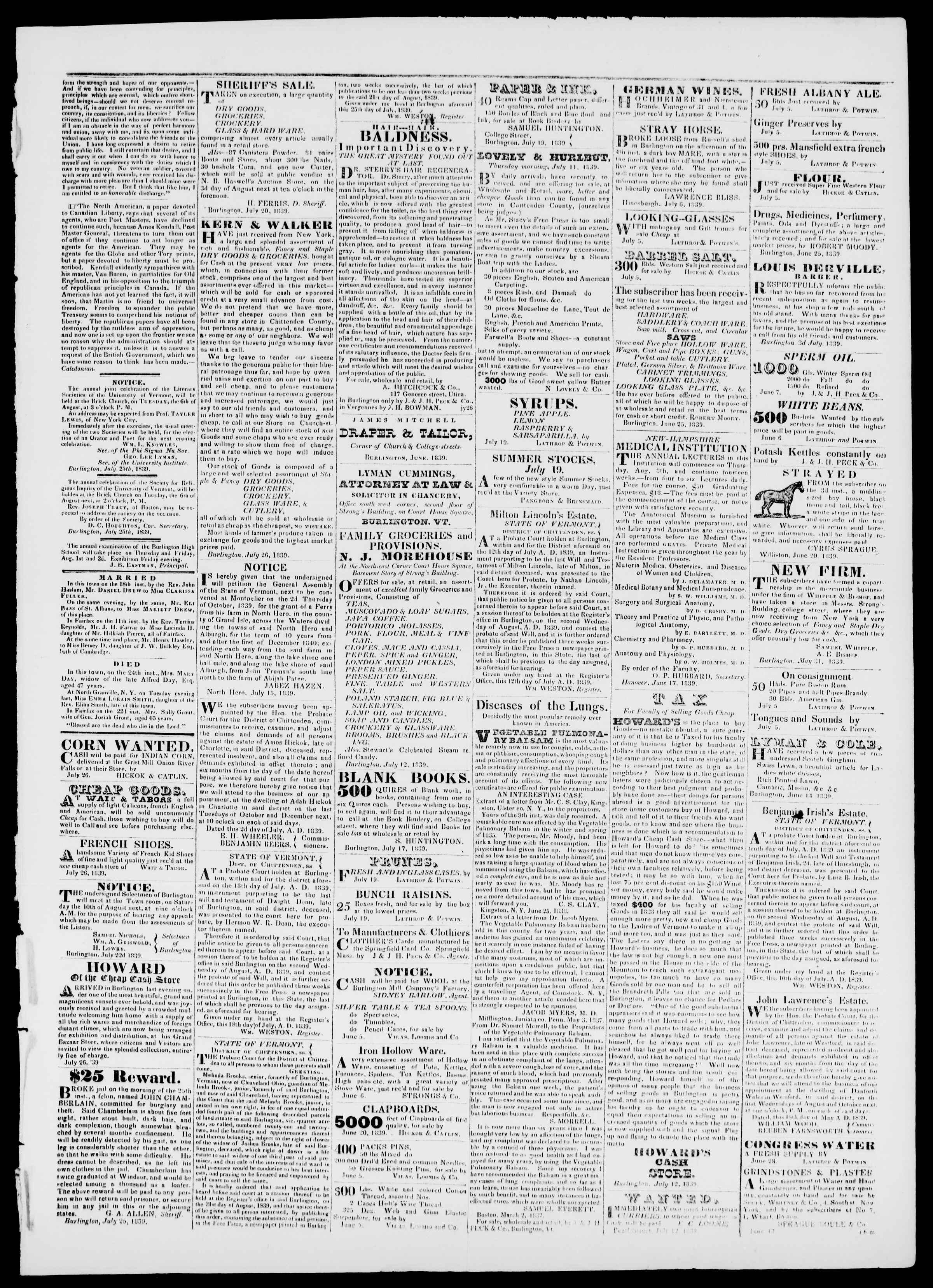 Newspaper of Burlington Free Press dated July 26, 1839 Page 3