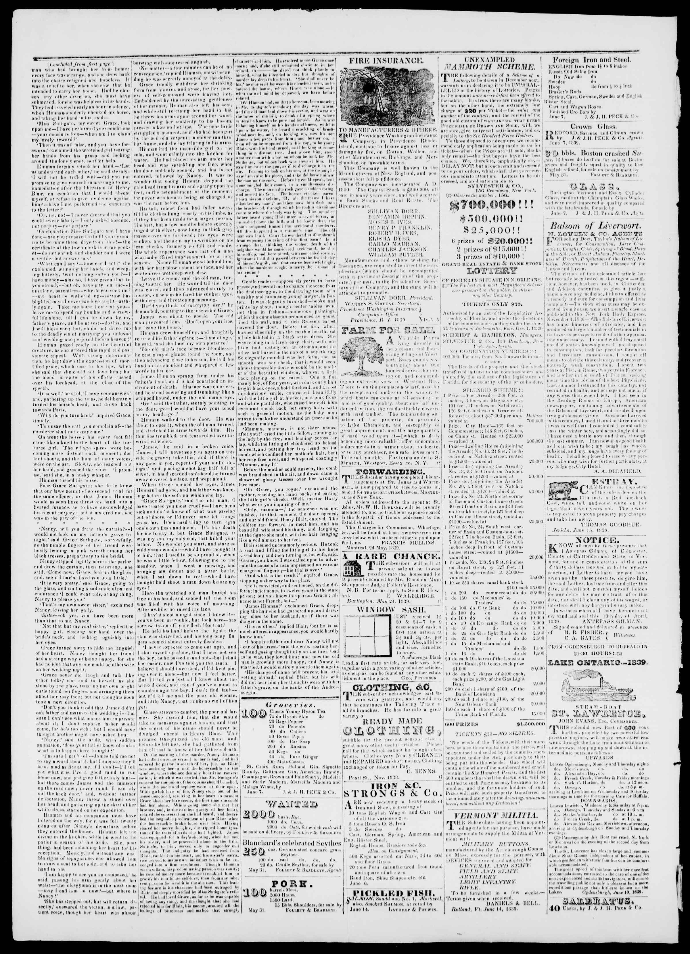 Newspaper of Burlington Free Press dated July 26, 1839 Page 4