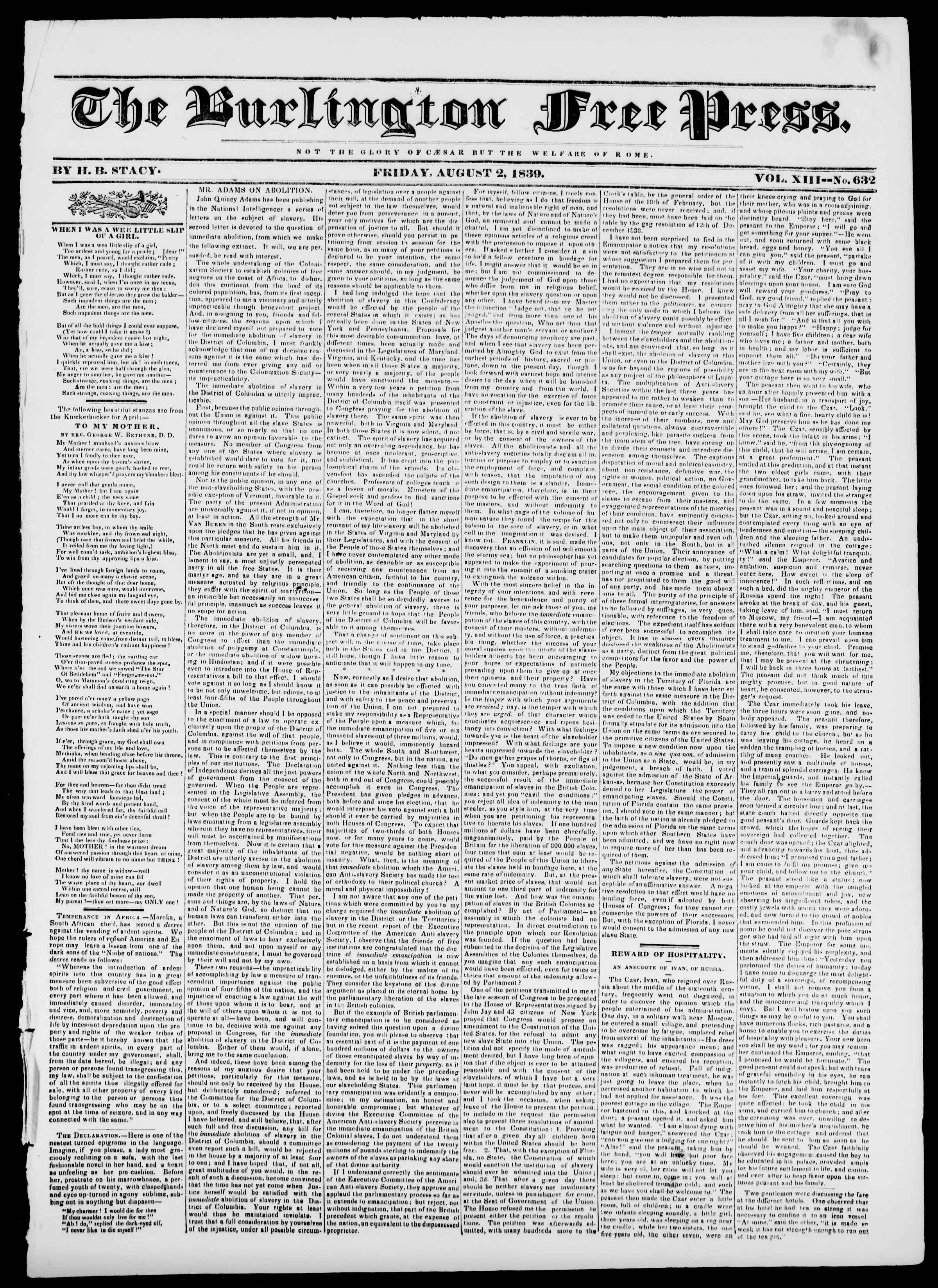 Newspaper of Burlington Free Press dated August 2, 1839 Page 1