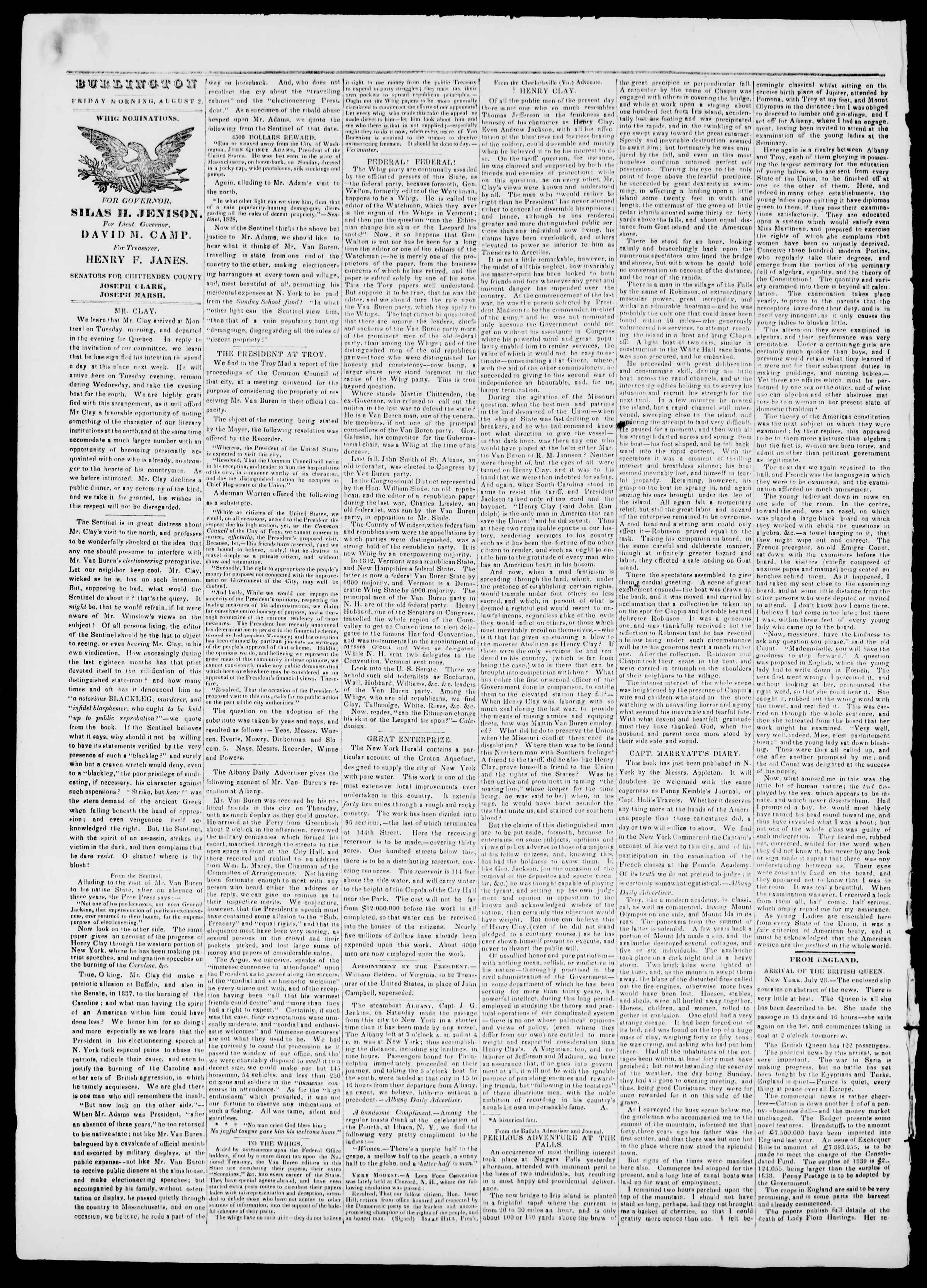 Newspaper of Burlington Free Press dated August 2, 1839 Page 2