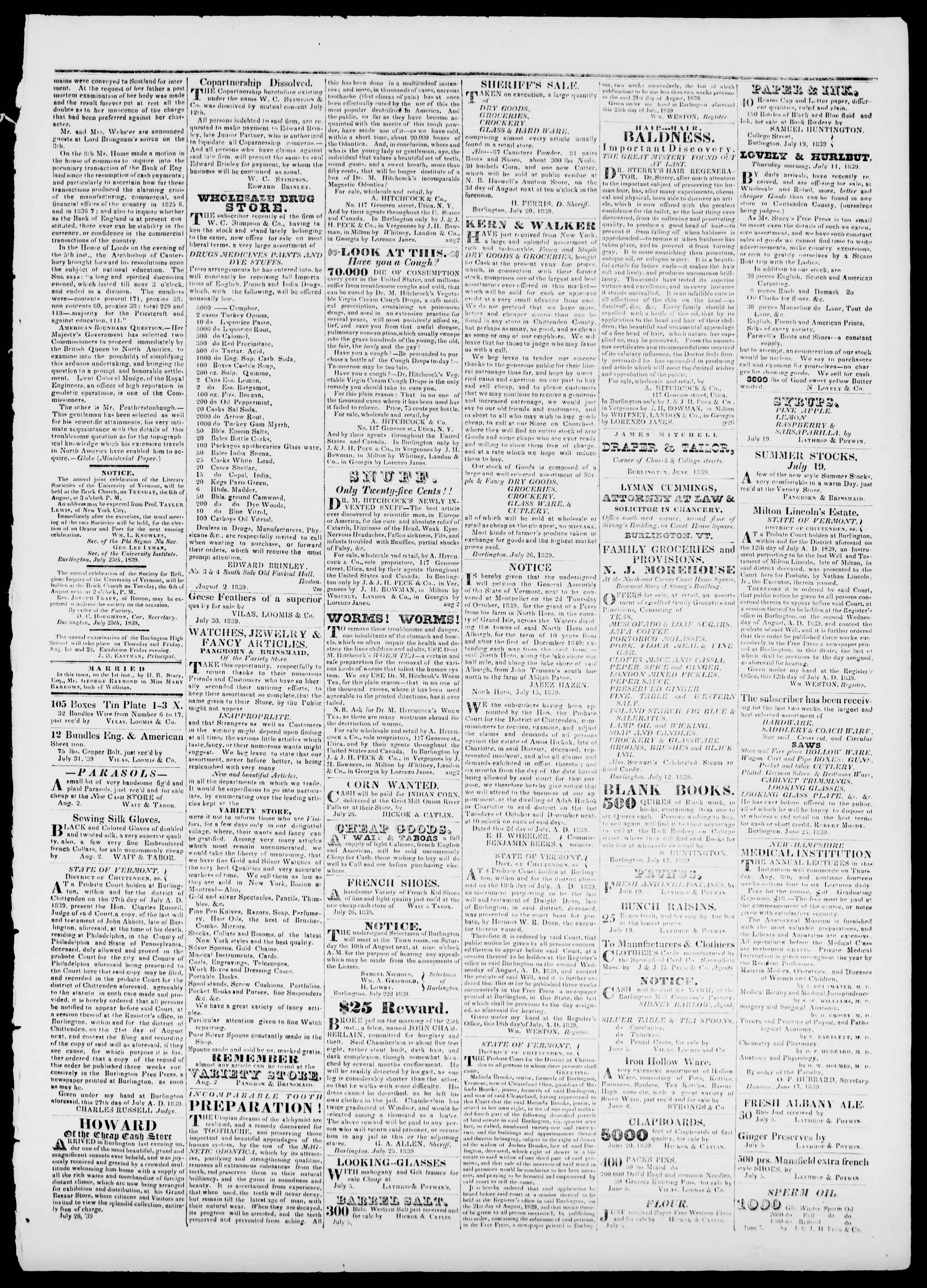 Newspaper of Burlington Free Press dated 2 Ağustos 1839 Page 3