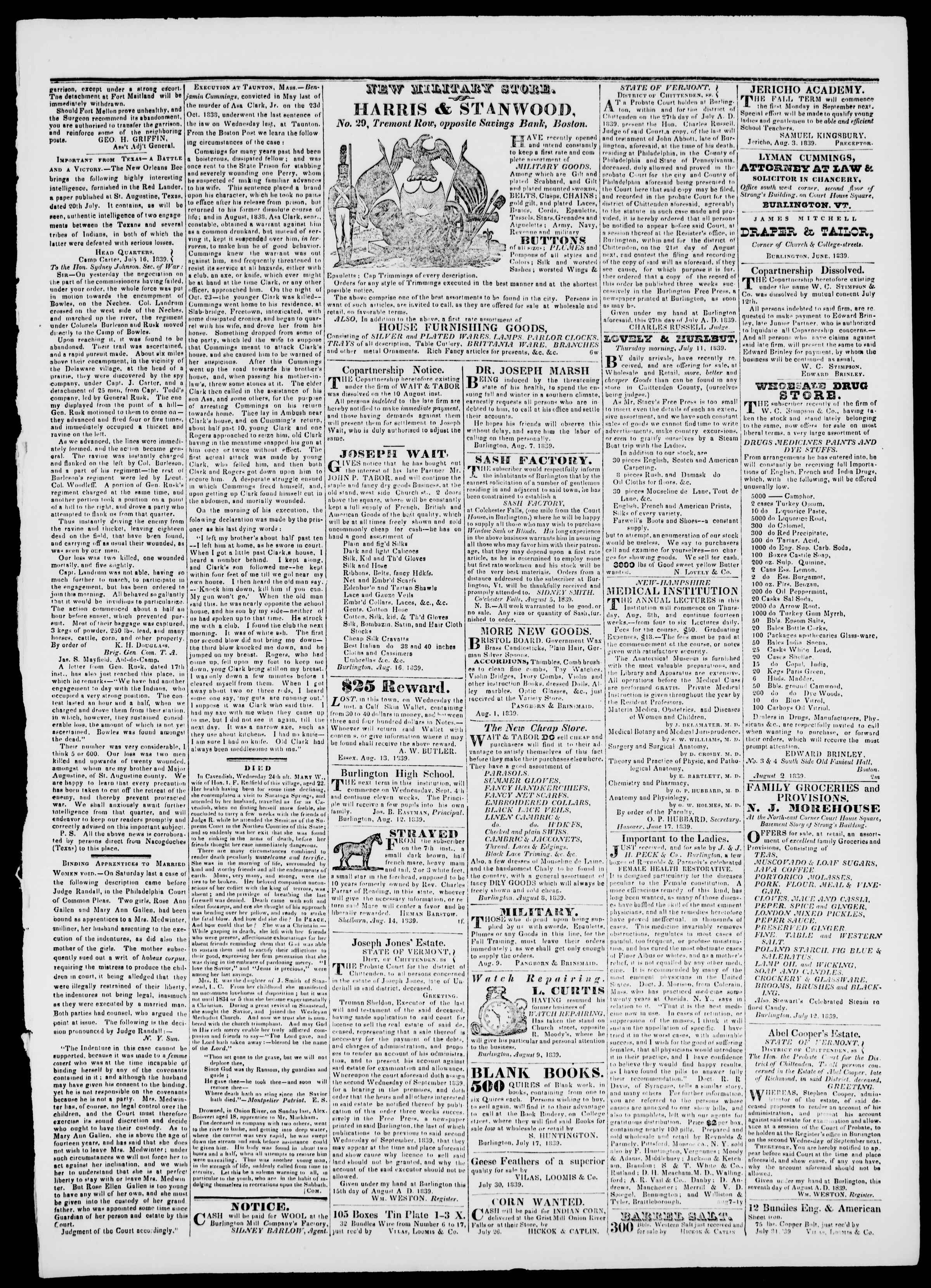Newspaper of Burlington Free Press dated August 16, 1839 Page 3