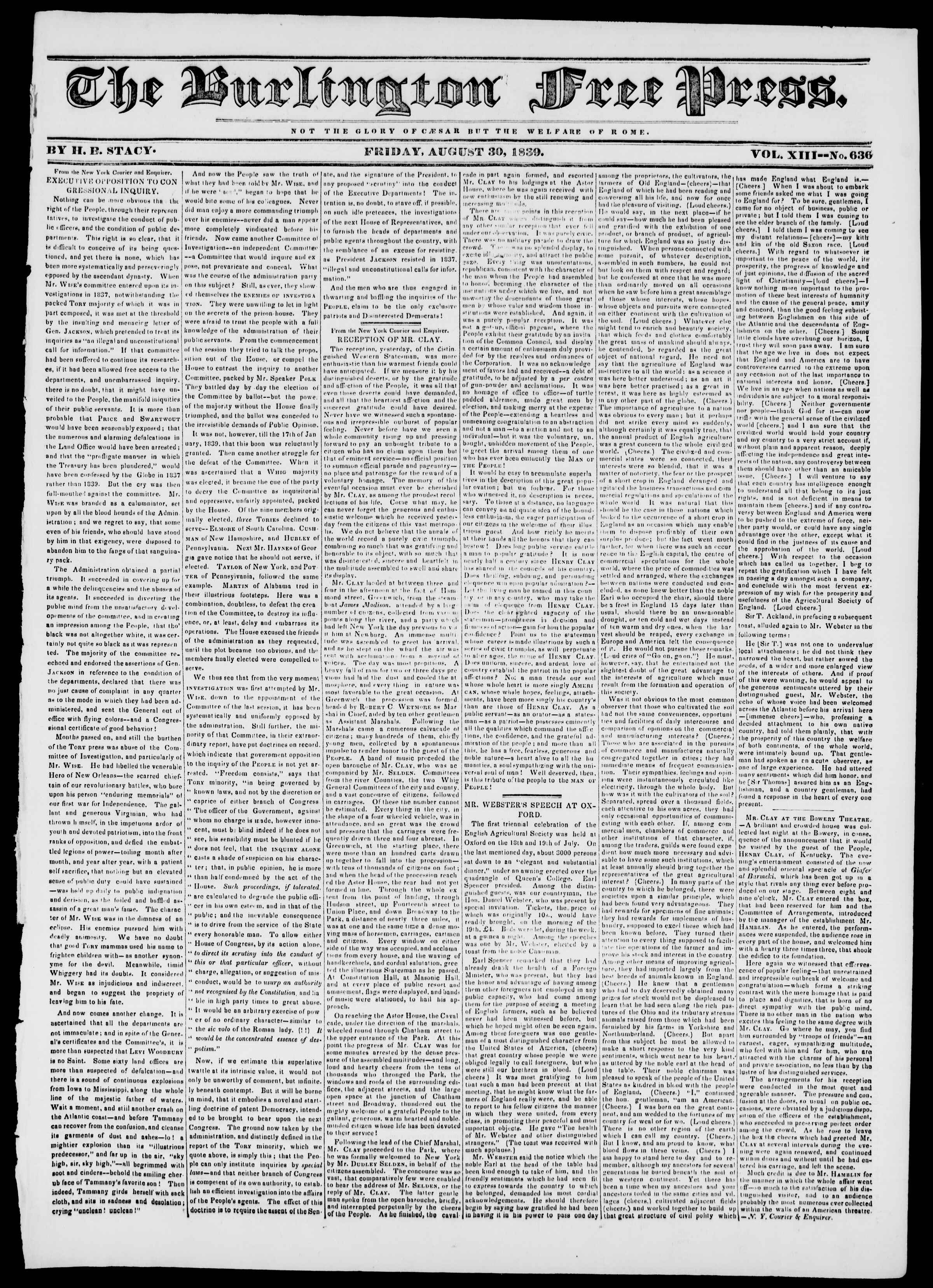 Newspaper of Burlington Free Press dated August 30, 1839 Page 1