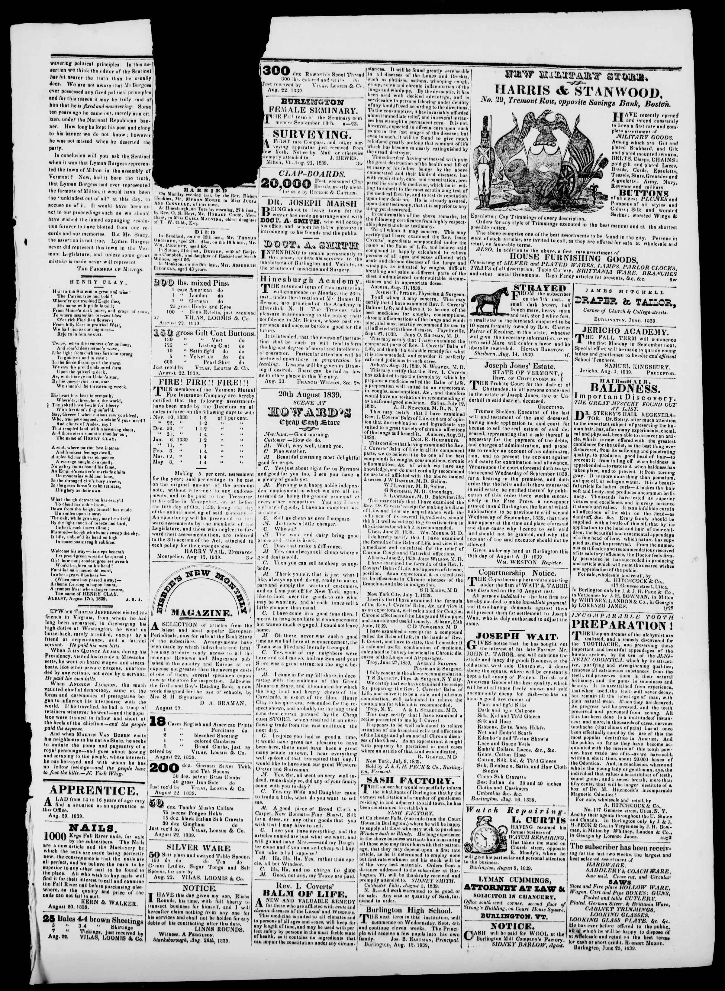 Newspaper of Burlington Free Press dated August 30, 1839 Page 3