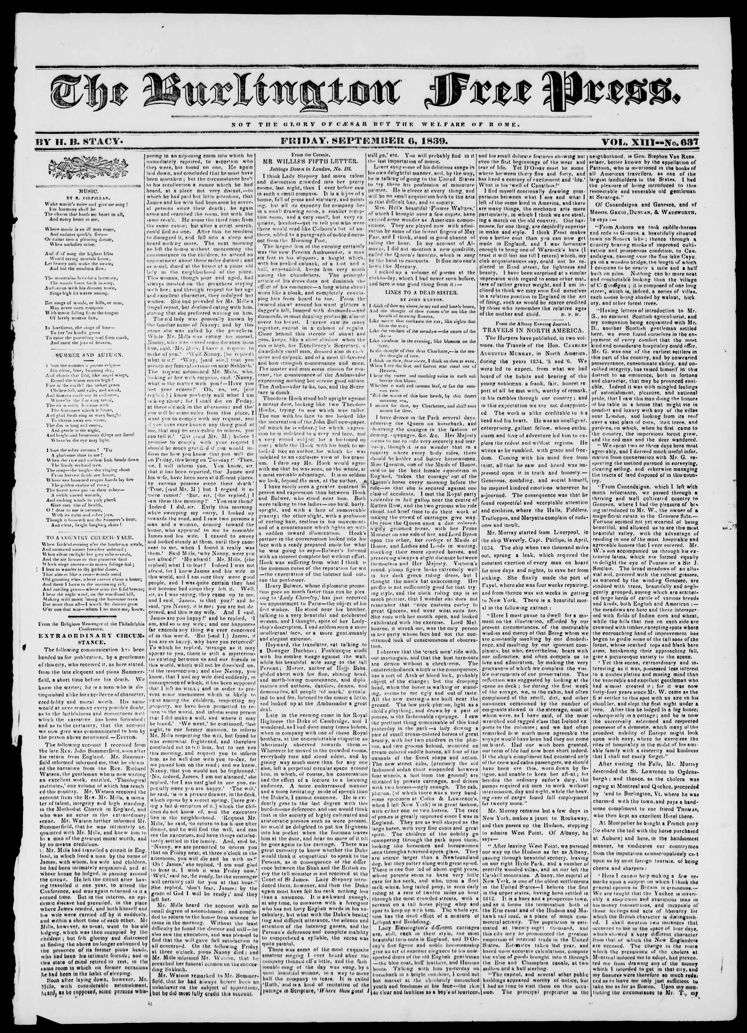 Newspaper of Burlington Free Press dated September 6, 1839 Page 1