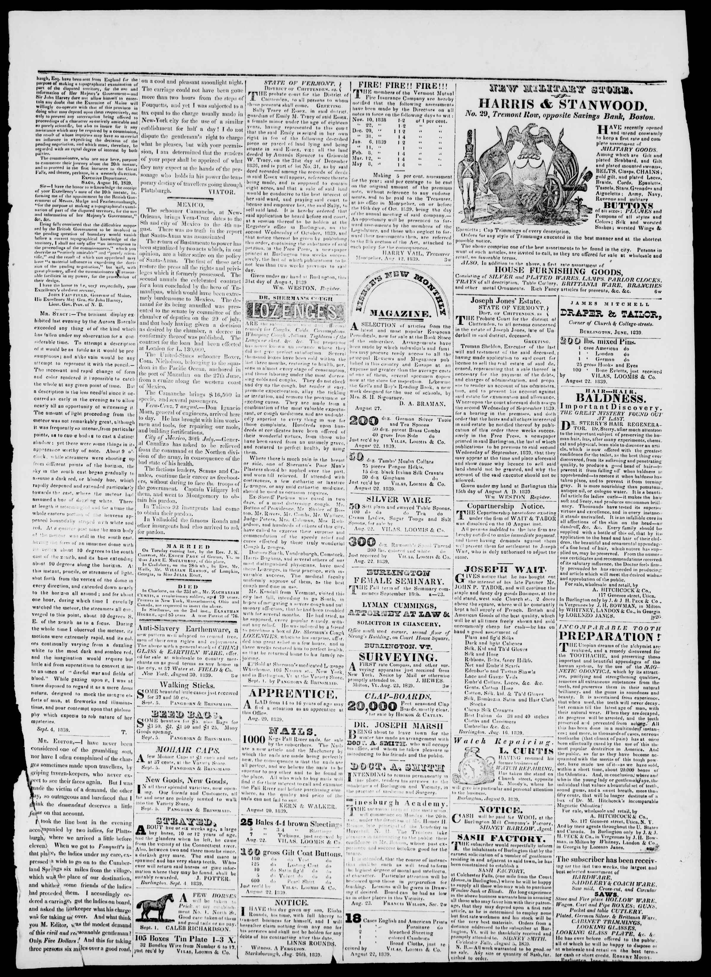 Newspaper of Burlington Free Press dated September 6, 1839 Page 3