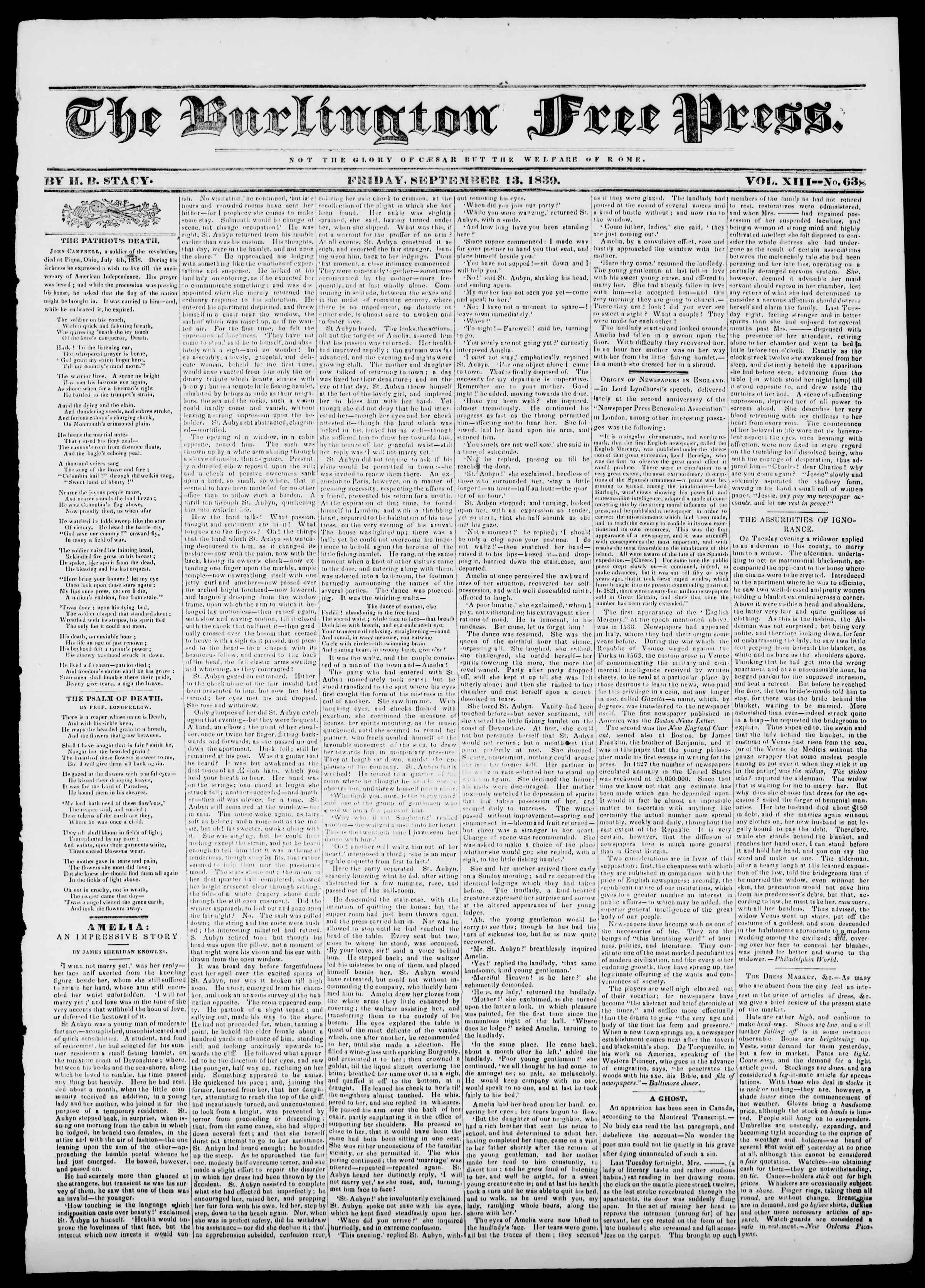 Newspaper of Burlington Free Press dated September 13, 1839 Page 1
