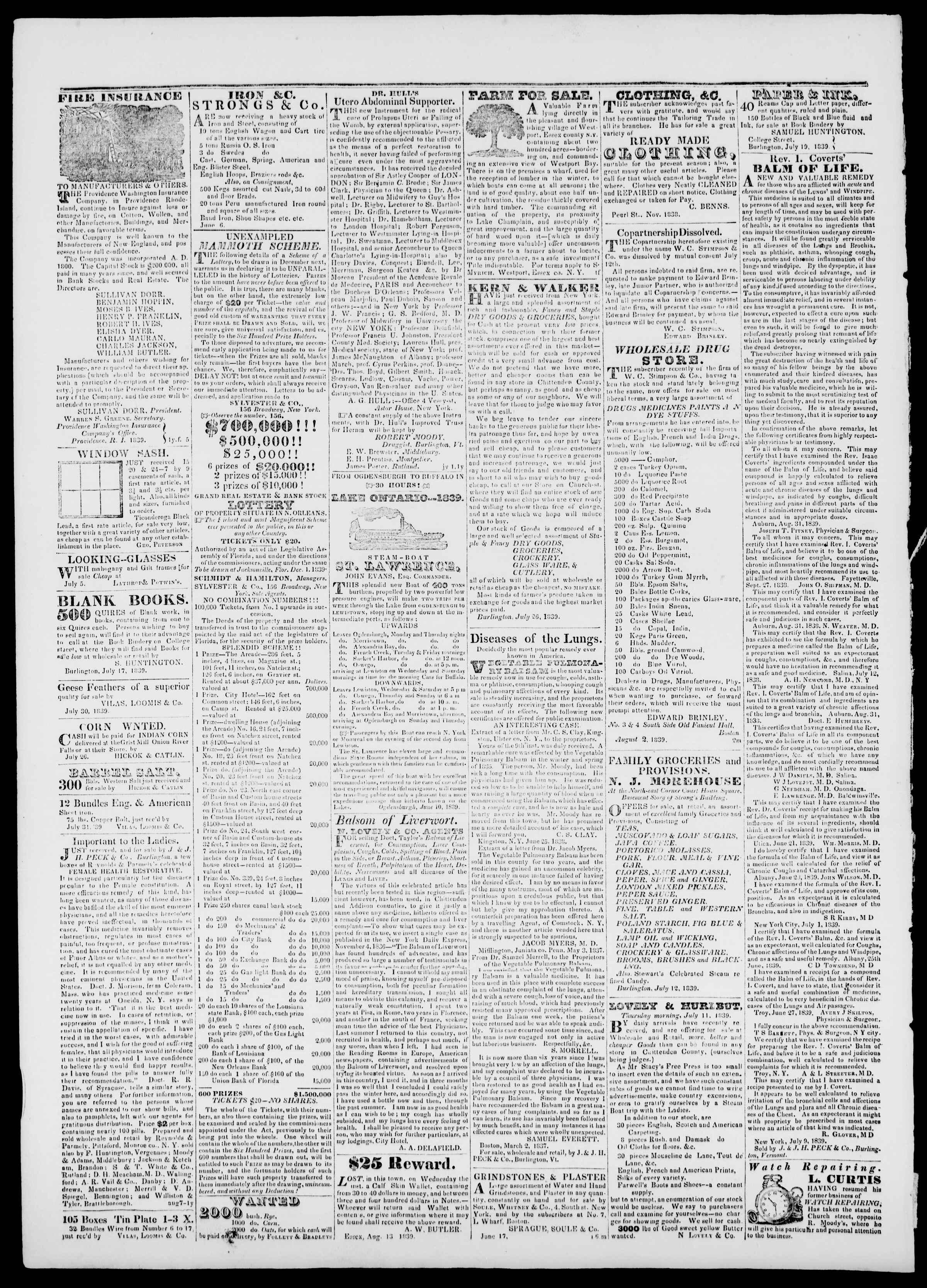Newspaper of Burlington Free Press dated September 13, 1839 Page 4