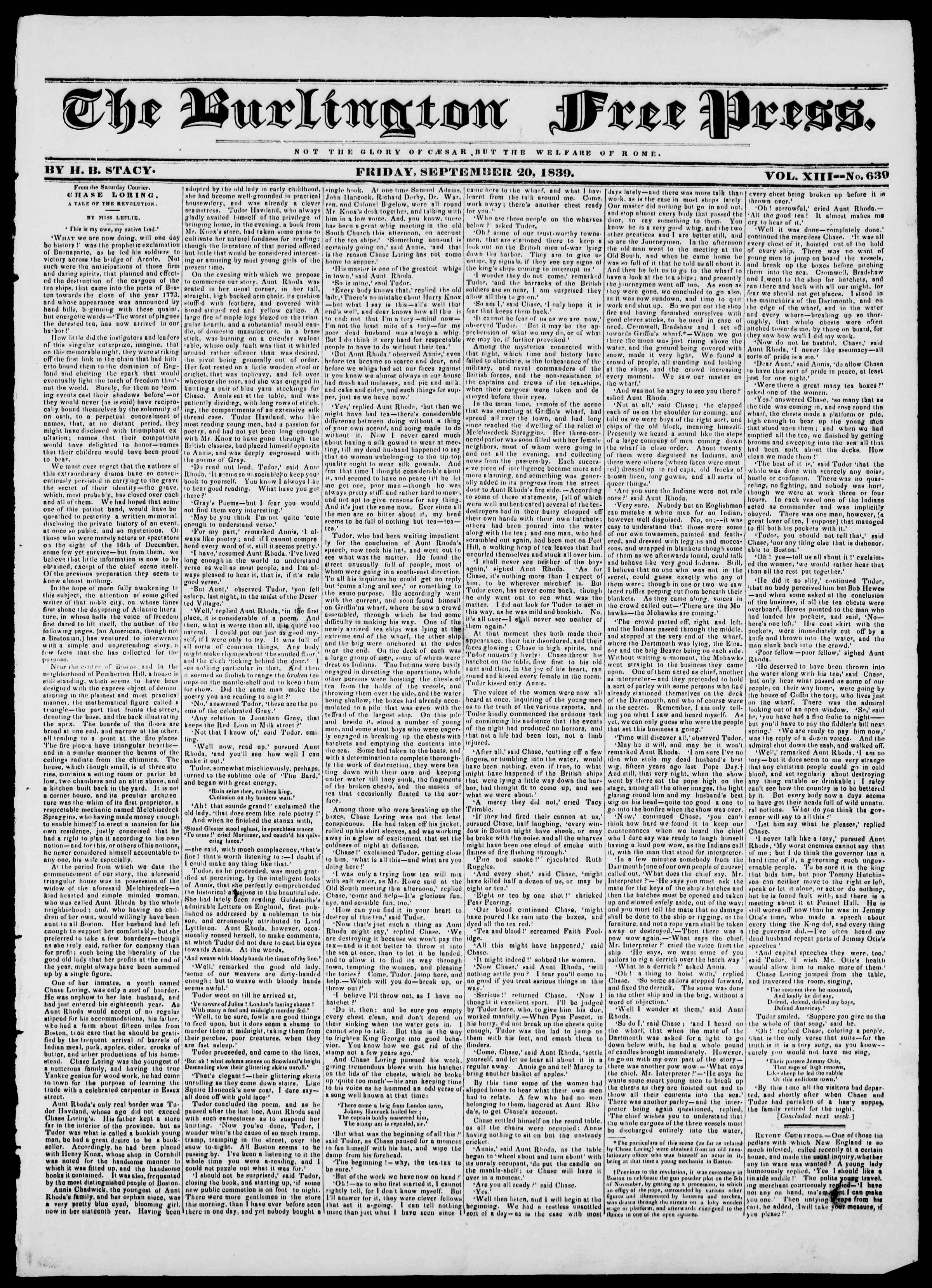 Newspaper of Burlington Free Press dated September 20, 1839 Page 1