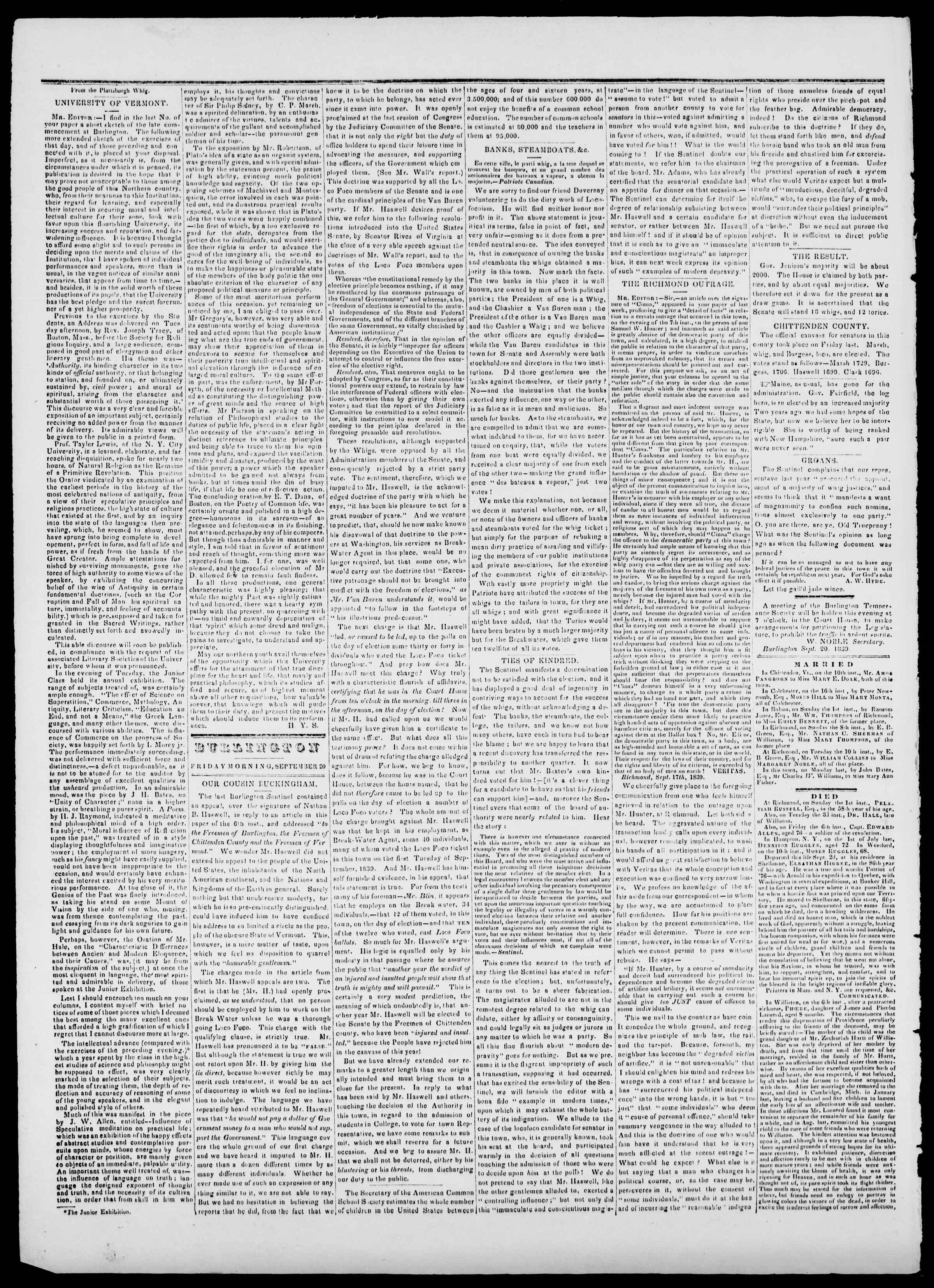 Newspaper of Burlington Free Press dated September 20, 1839 Page 2