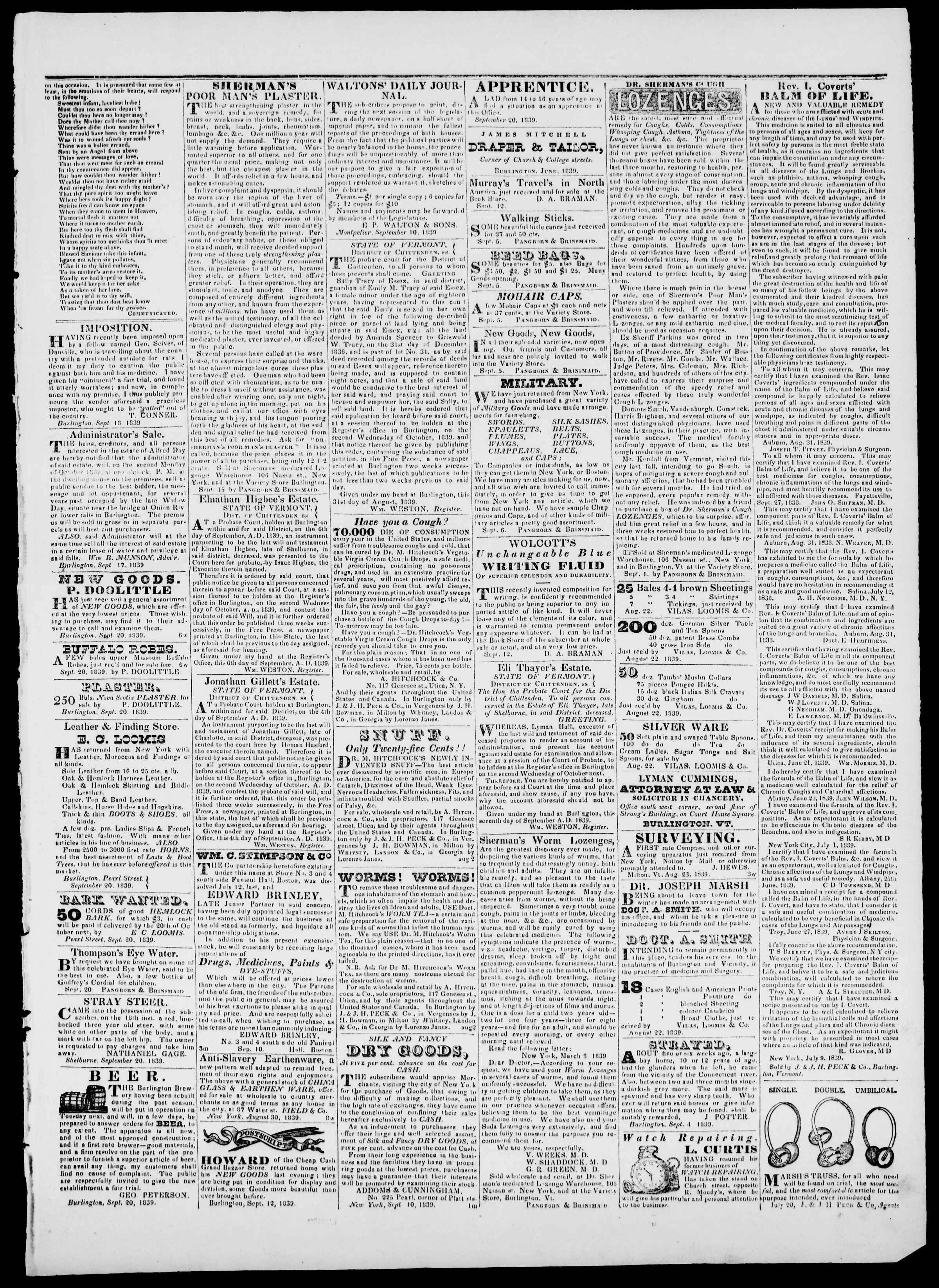 Newspaper of Burlington Free Press dated September 20, 1839 Page 3