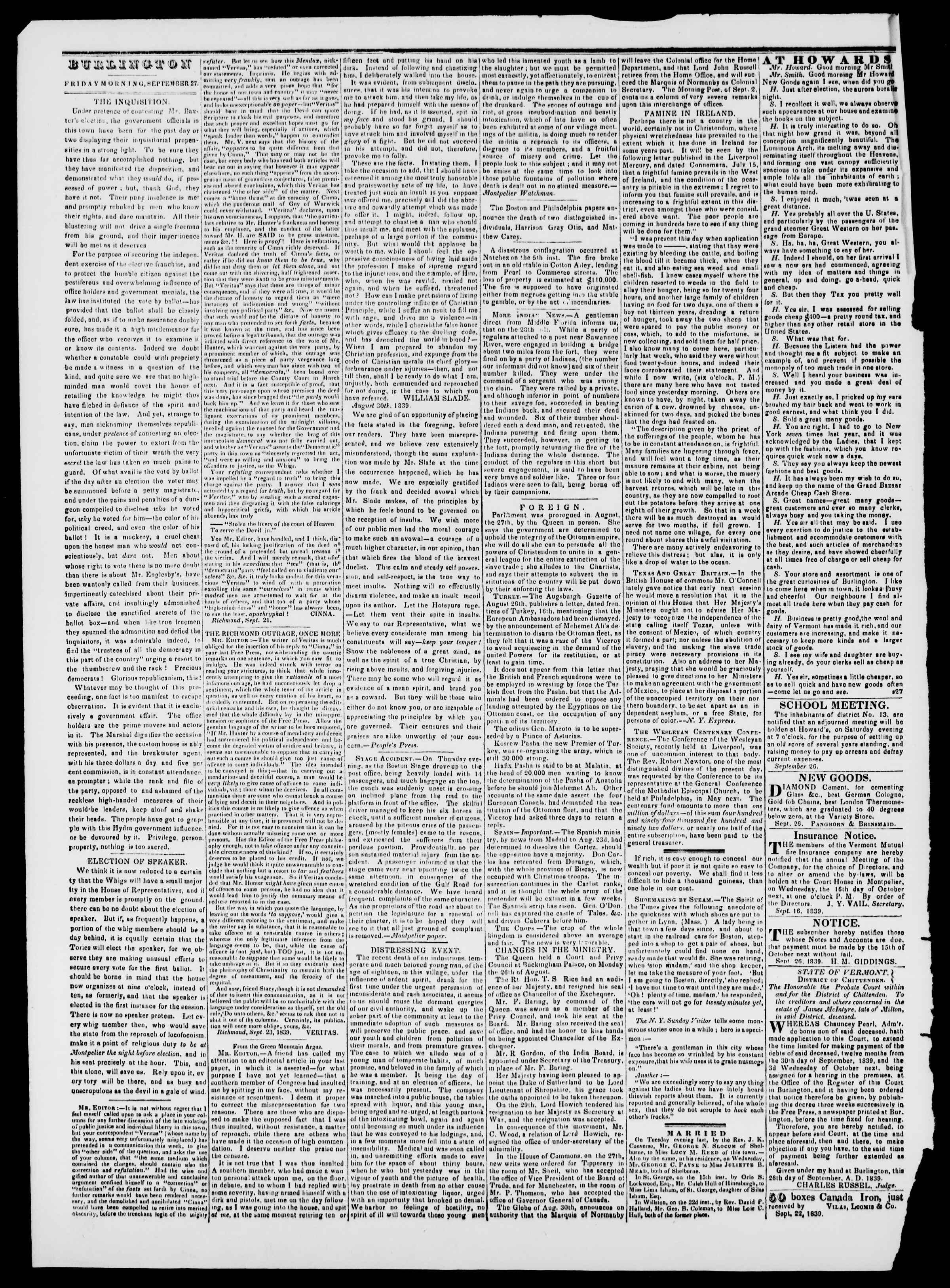 Newspaper of Burlington Free Press dated September 27, 1839 Page 2