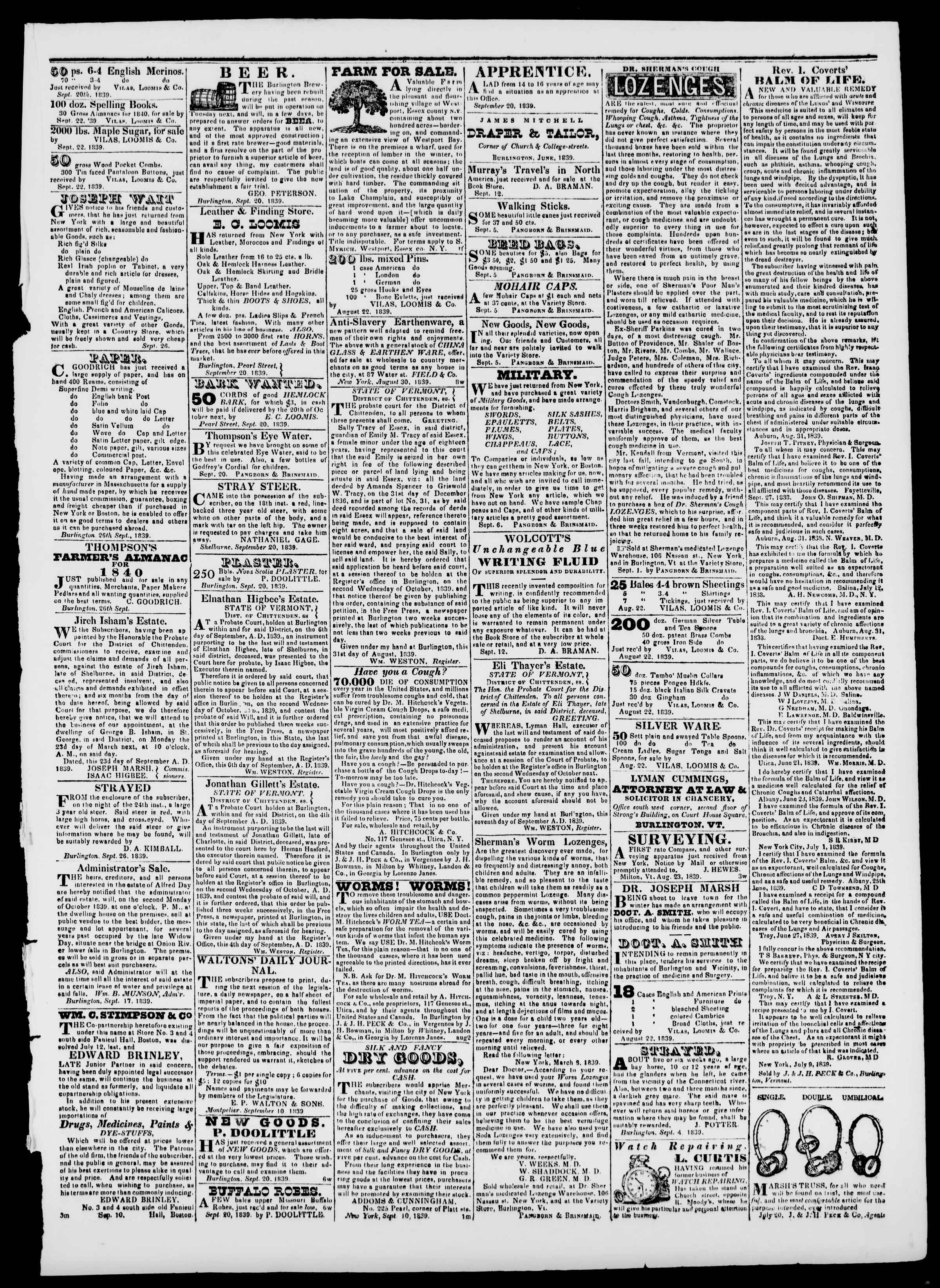 Newspaper of Burlington Free Press dated September 27, 1839 Page 3