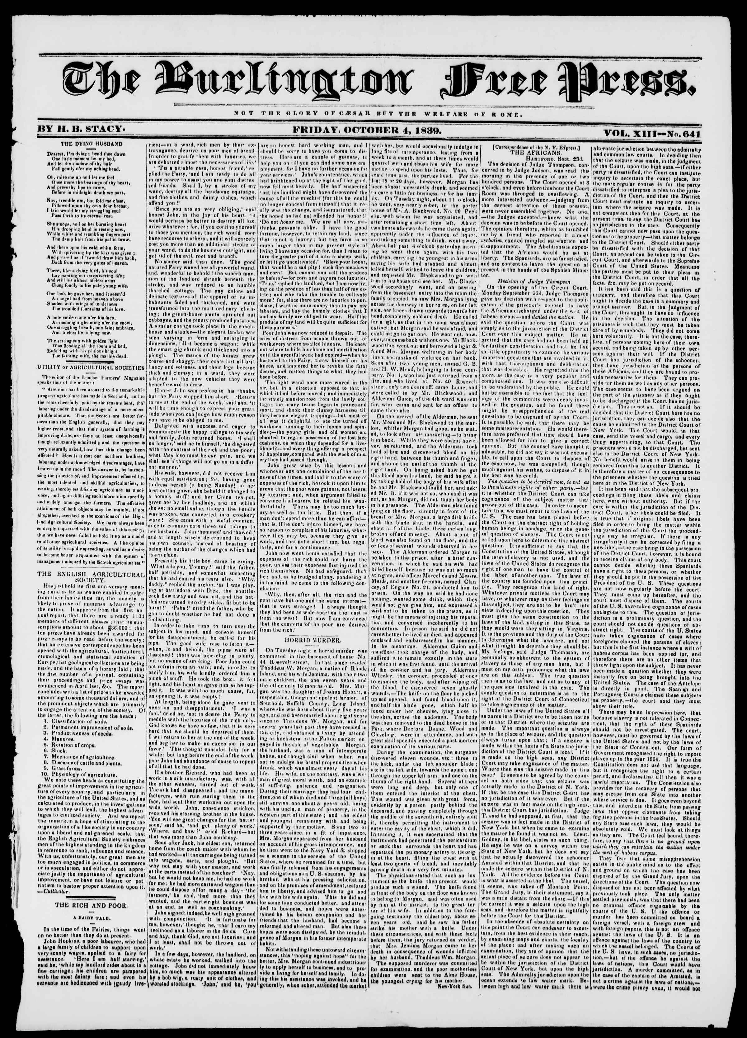 Newspaper of Burlington Free Press dated October 4, 1839 Page 1
