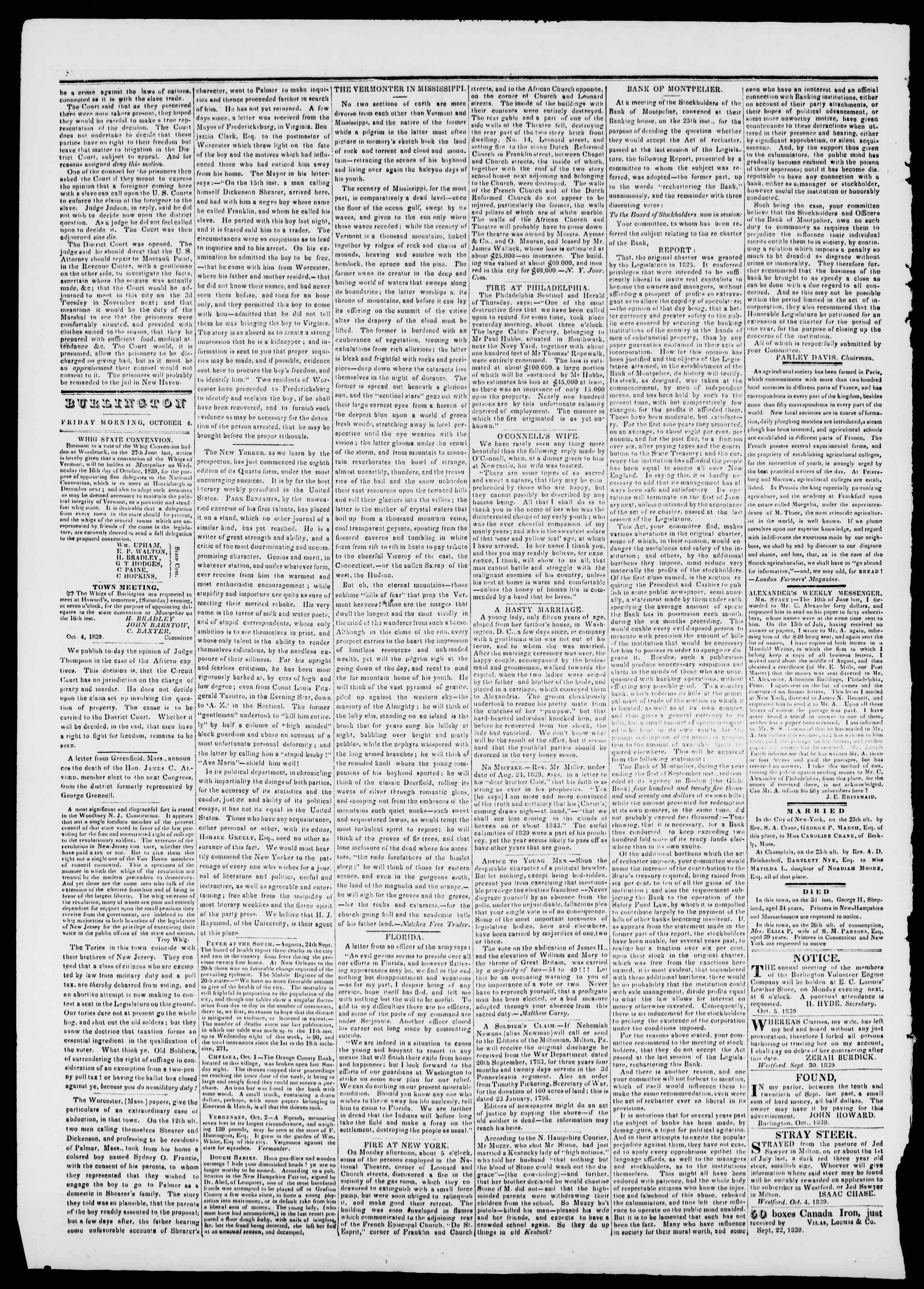 Newspaper of Burlington Free Press dated October 4, 1839 Page 2