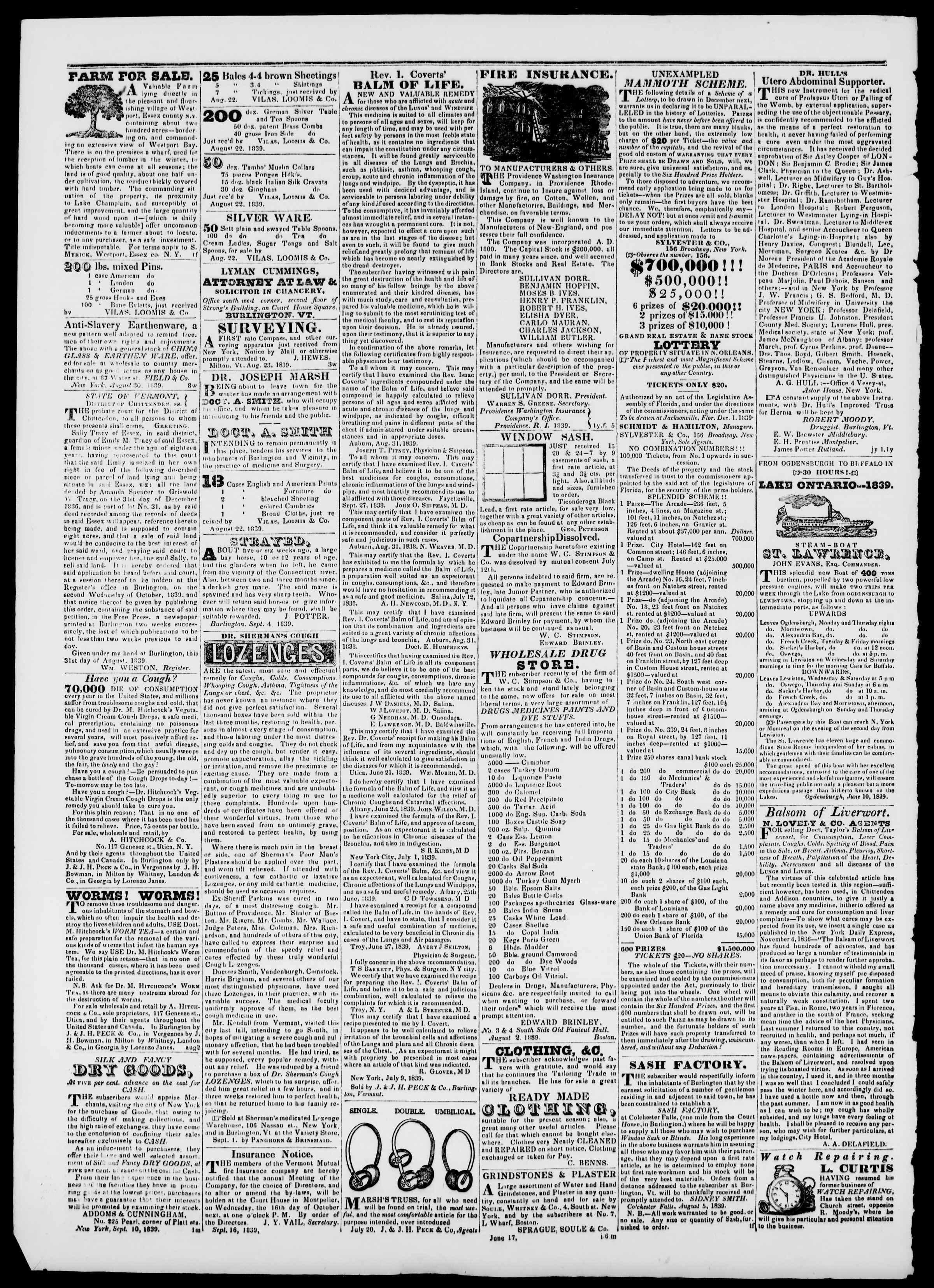 Newspaper of Burlington Free Press dated October 4, 1839 Page 4