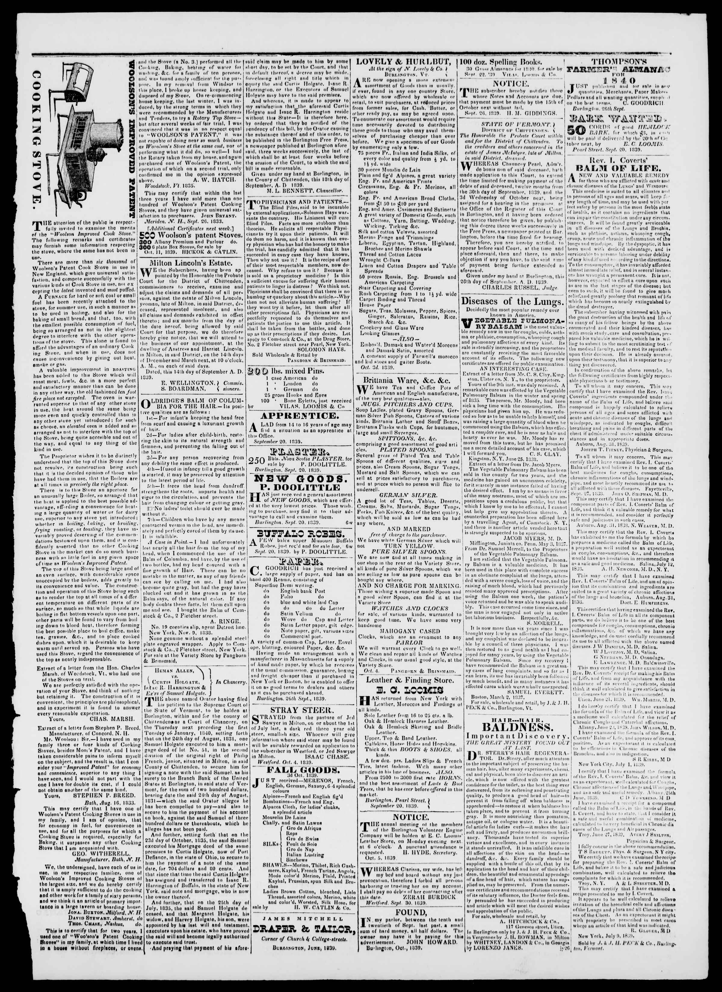 Newspaper of Burlington Free Press dated October 11, 1839 Page 3