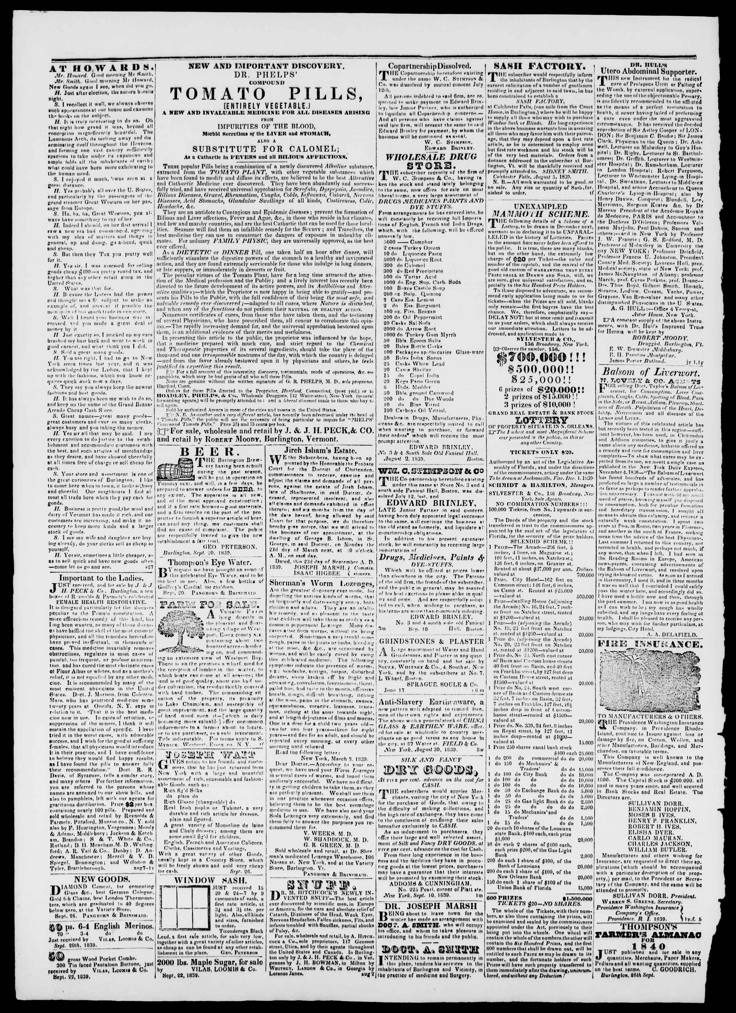 Newspaper of Burlington Free Press dated October 11, 1839 Page 4