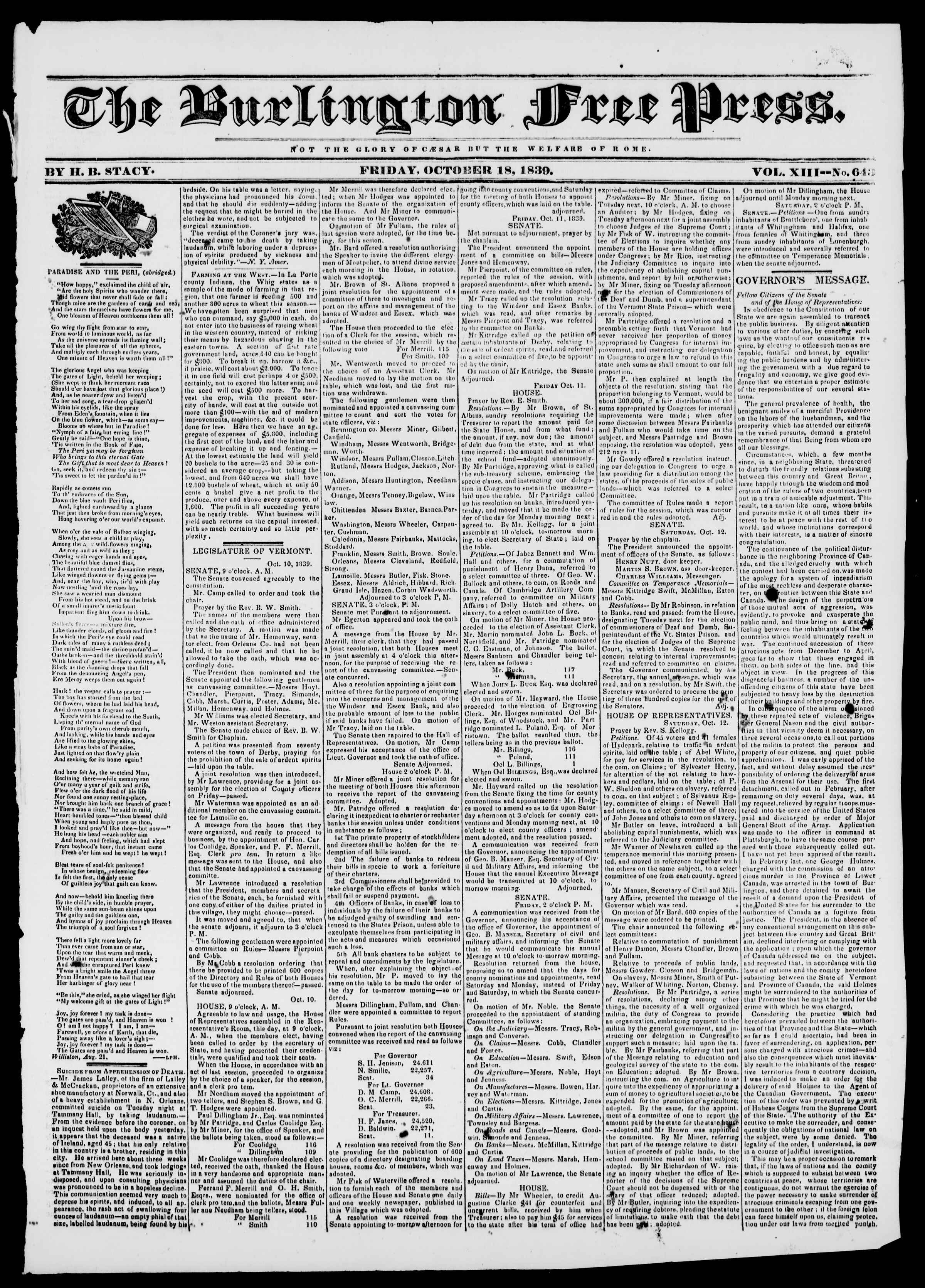 Newspaper of Burlington Free Press dated October 18, 1839 Page 1