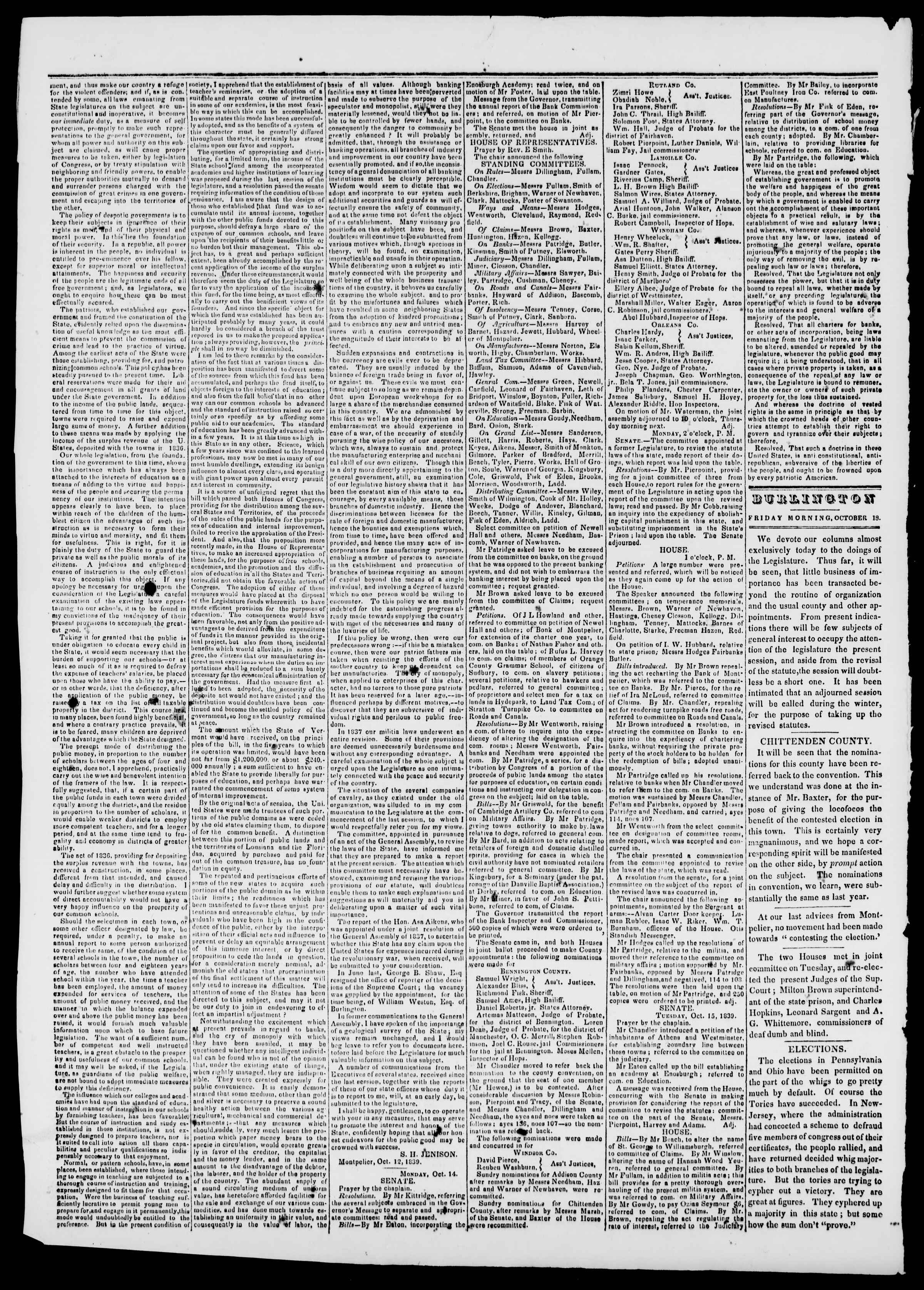 Newspaper of Burlington Free Press dated October 18, 1839 Page 2