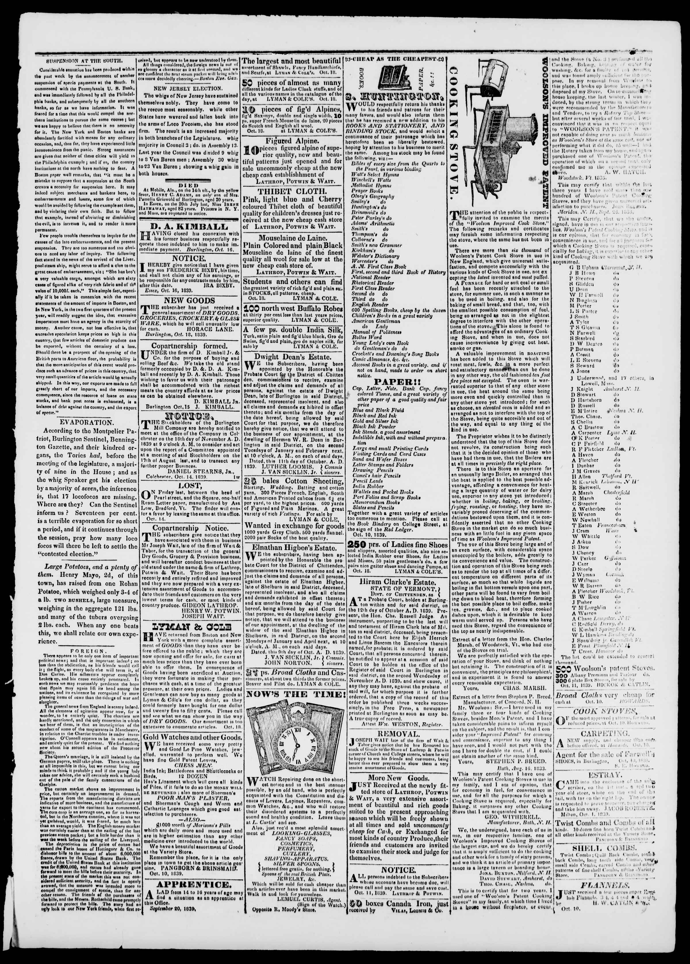 18 Ekim 1839 tarihli Burlington Free Press Gazetesi Sayfa 3