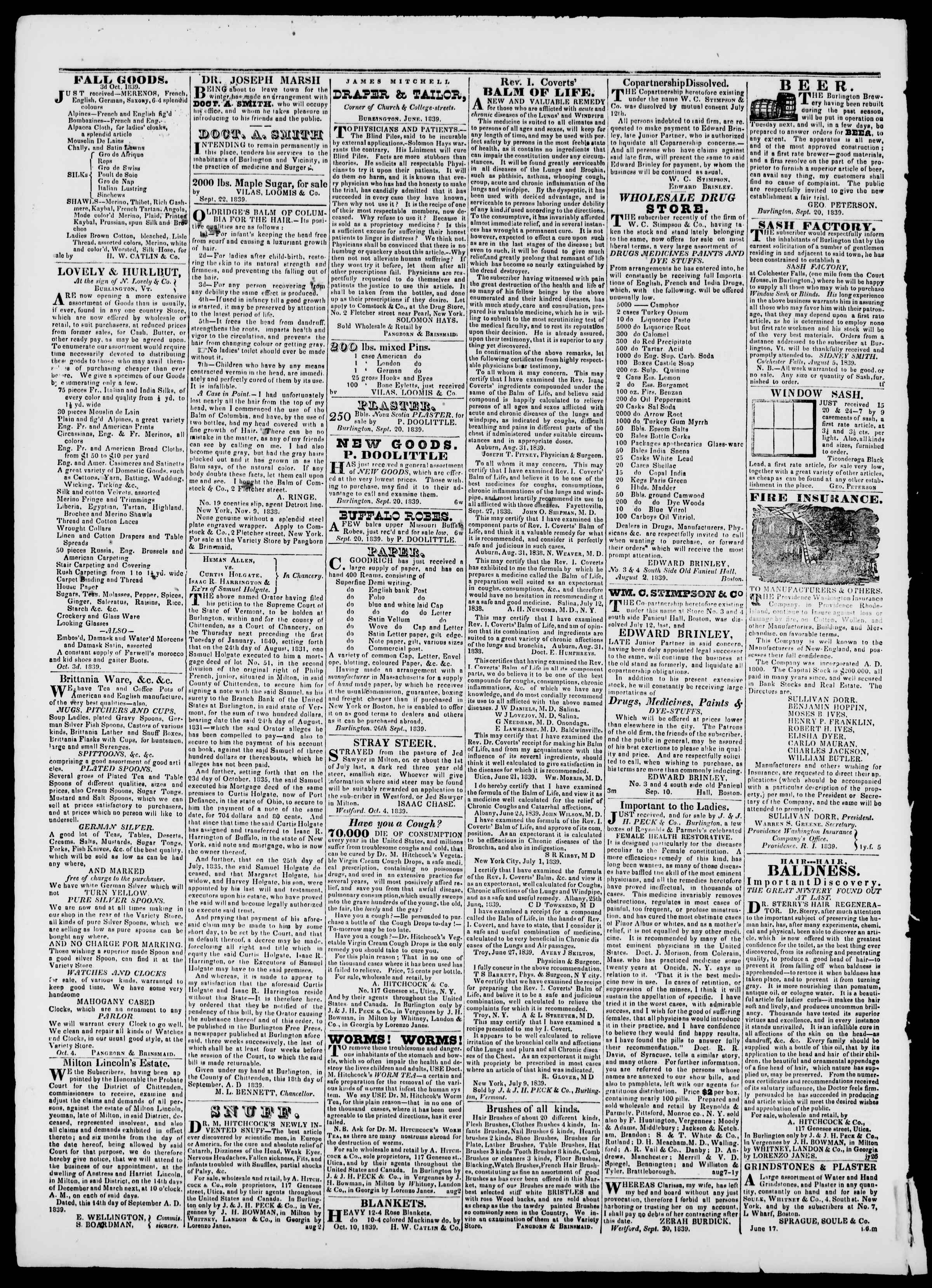 Newspaper of Burlington Free Press dated October 18, 1839 Page 4