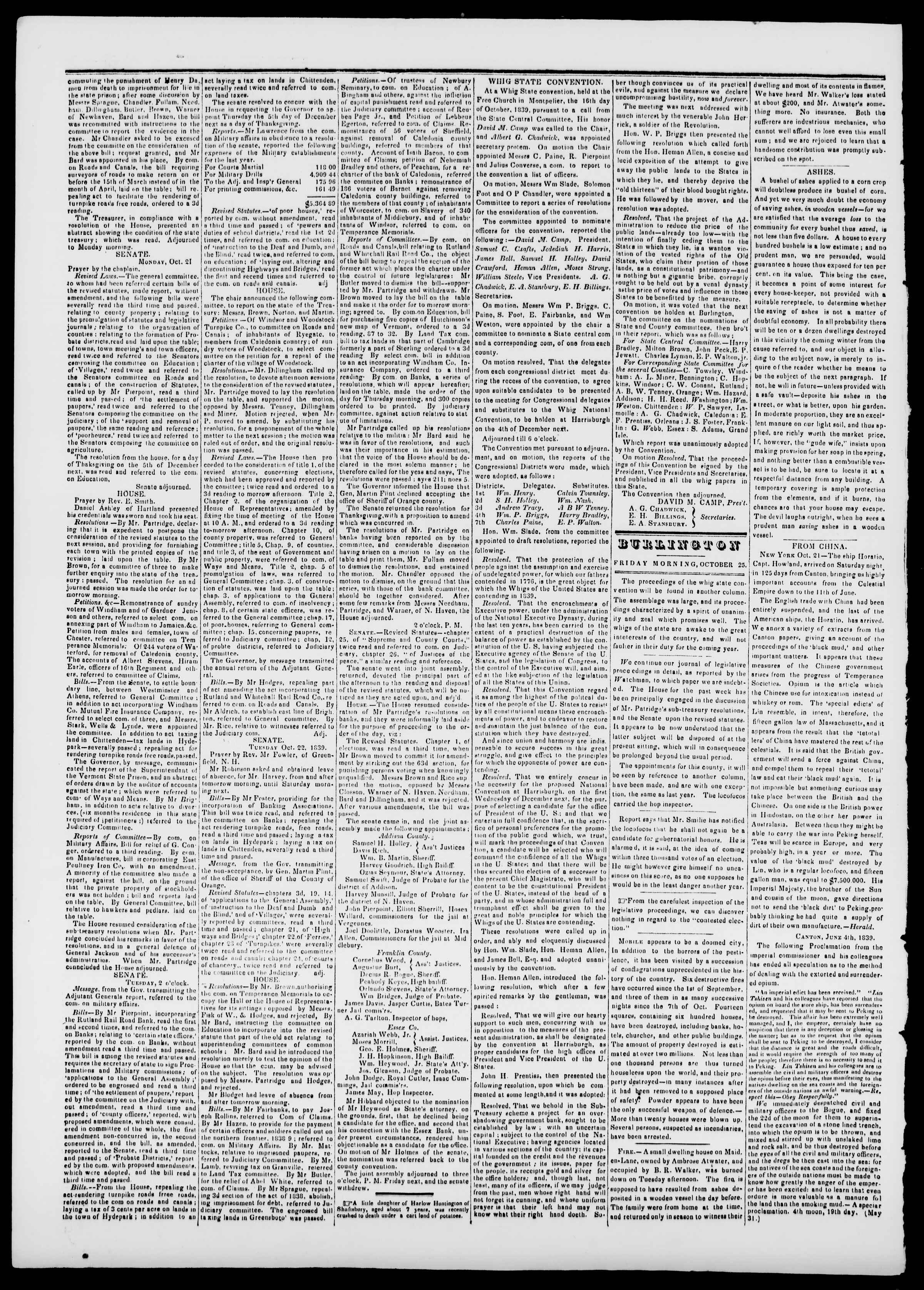 Newspaper of Burlington Free Press dated October 25, 1839 Page 2