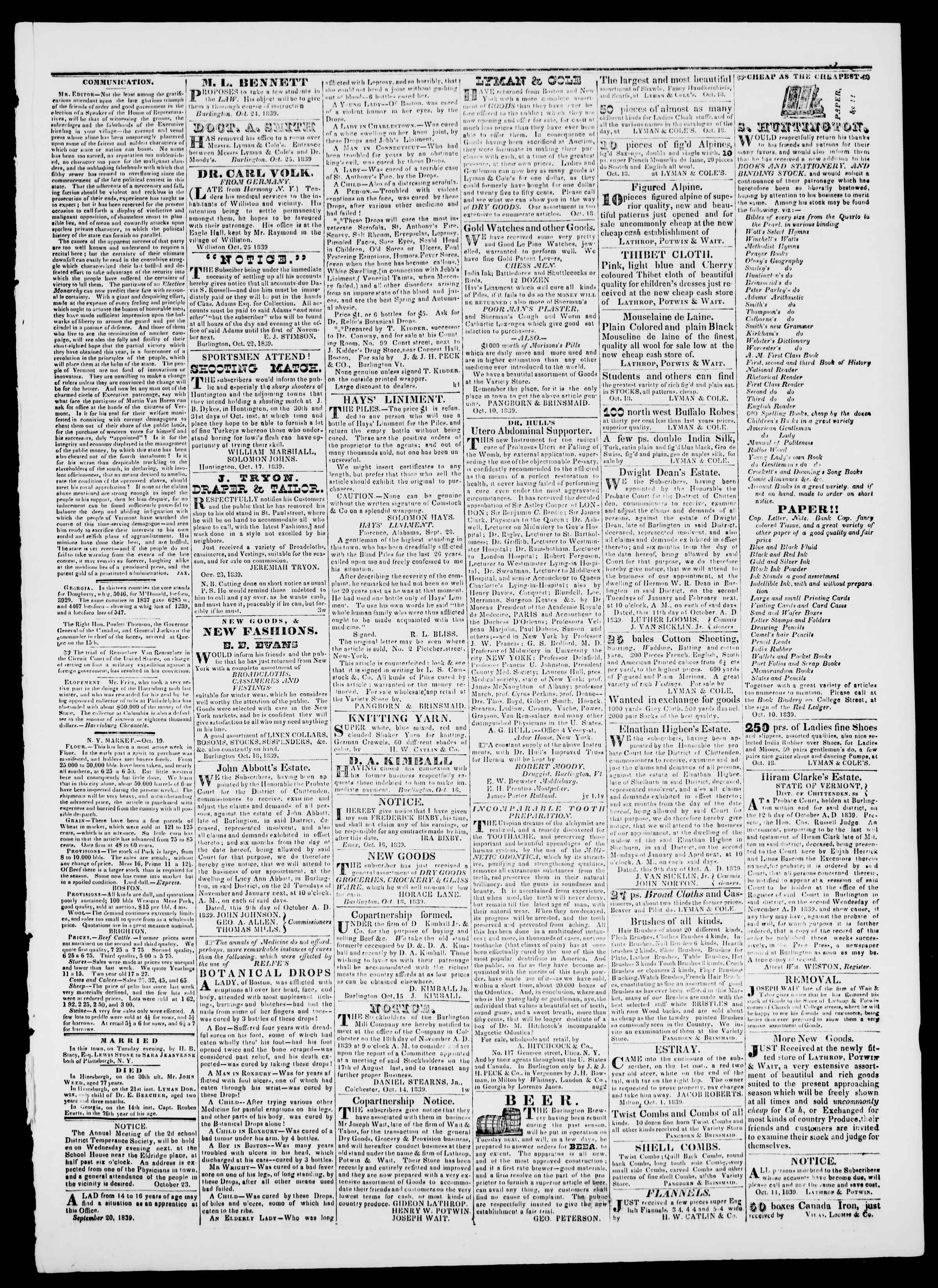 Newspaper of Burlington Free Press dated October 25, 1839 Page 3