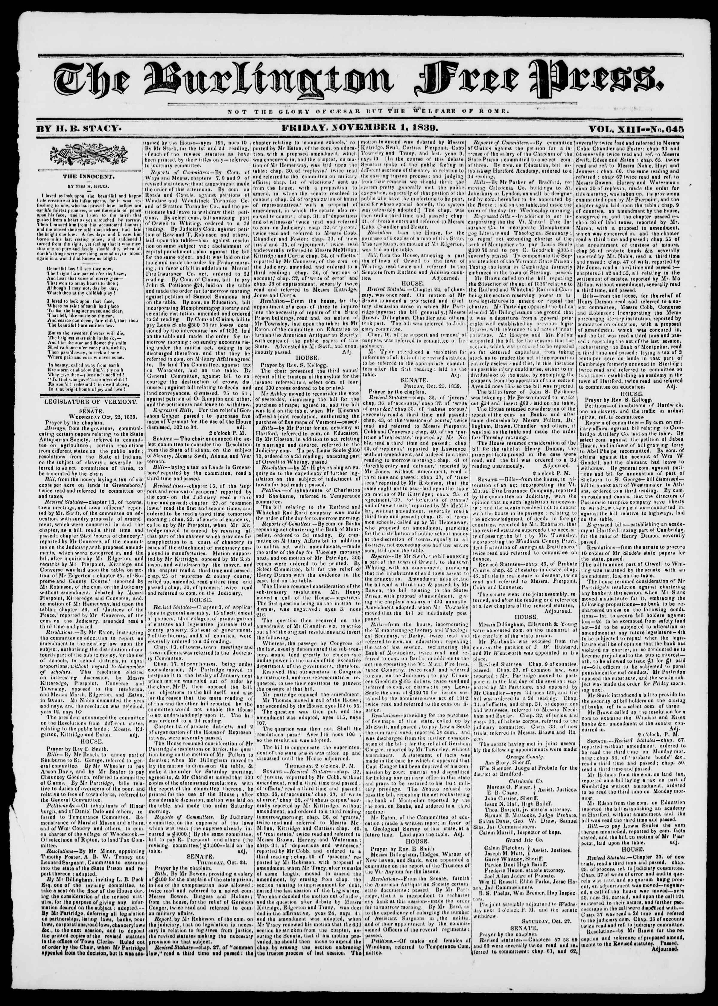 Newspaper of Burlington Free Press dated November 1, 1839 Page 1