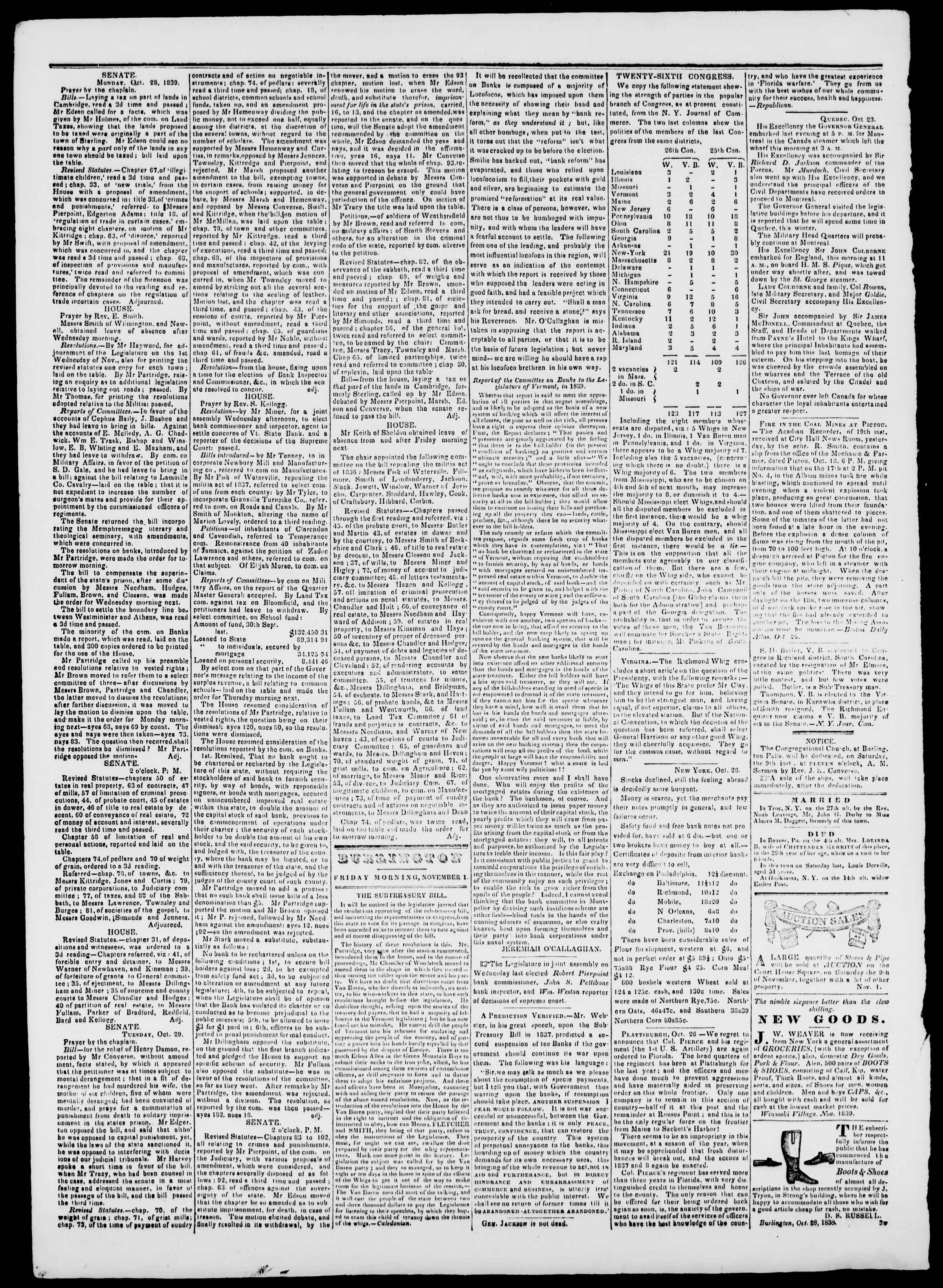 Newspaper of Burlington Free Press dated November 1, 1839 Page 2