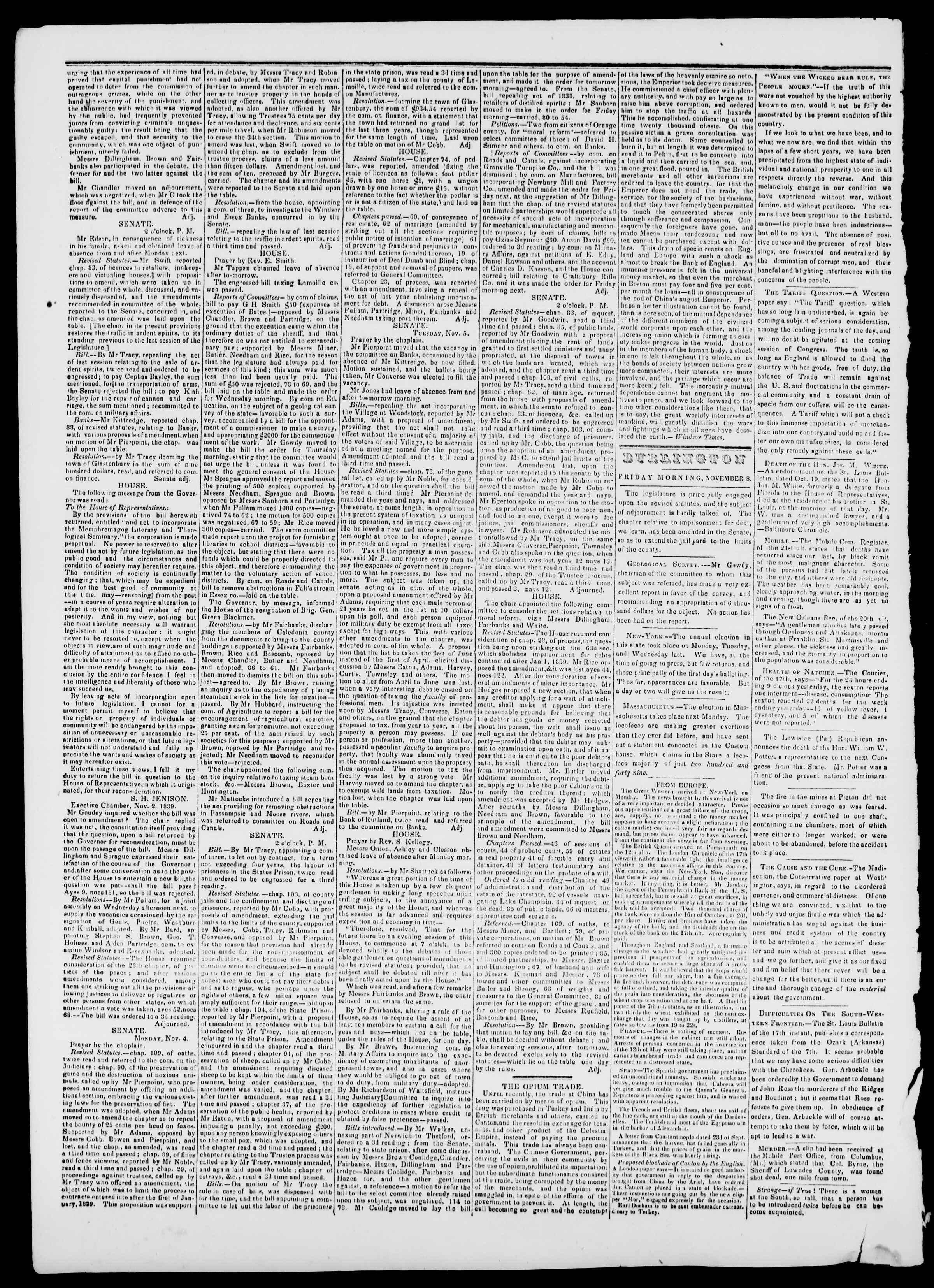 Newspaper of Burlington Free Press dated November 8, 1839 Page 2