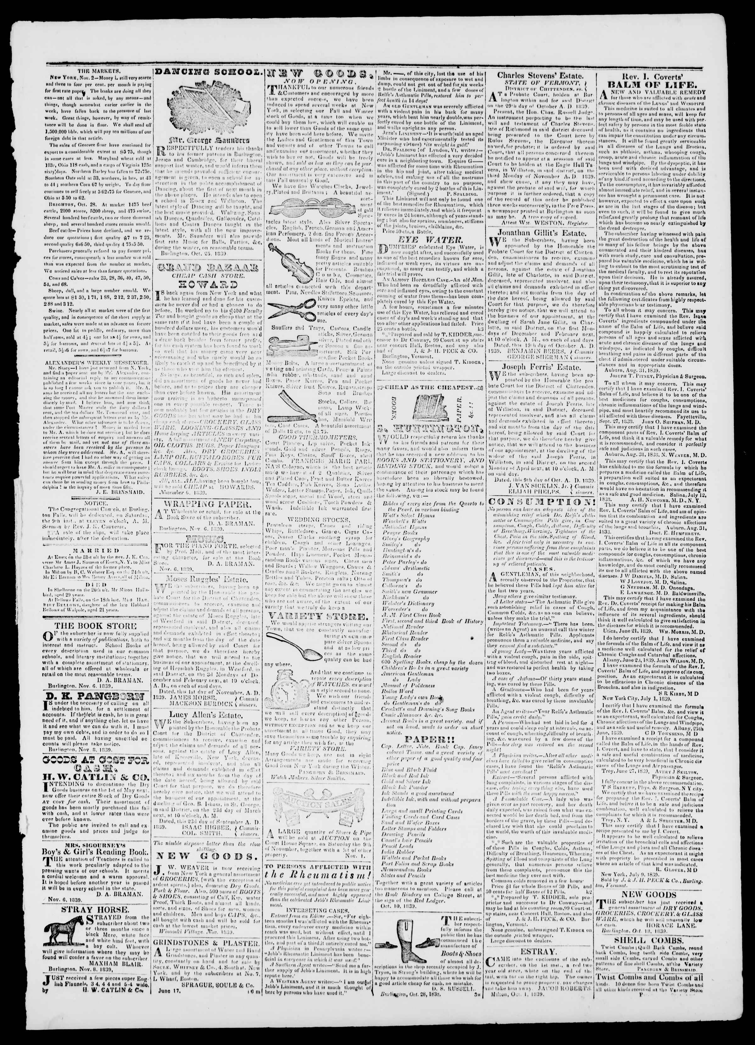 Newspaper of Burlington Free Press dated November 8, 1839 Page 3