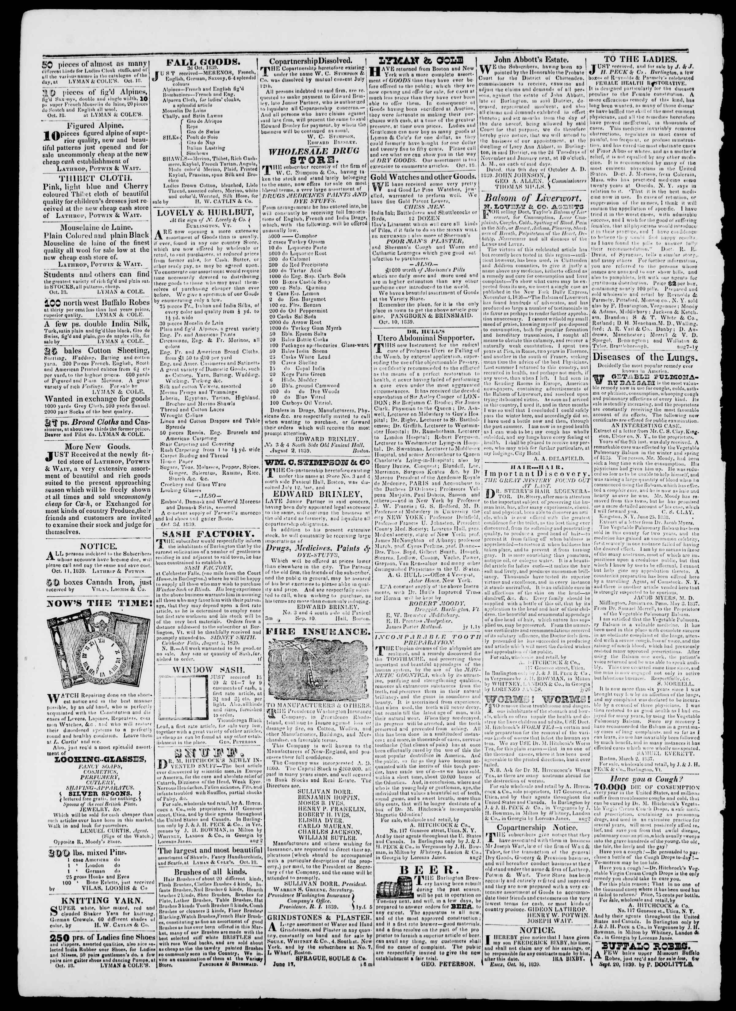 Newspaper of Burlington Free Press dated November 8, 1839 Page 4