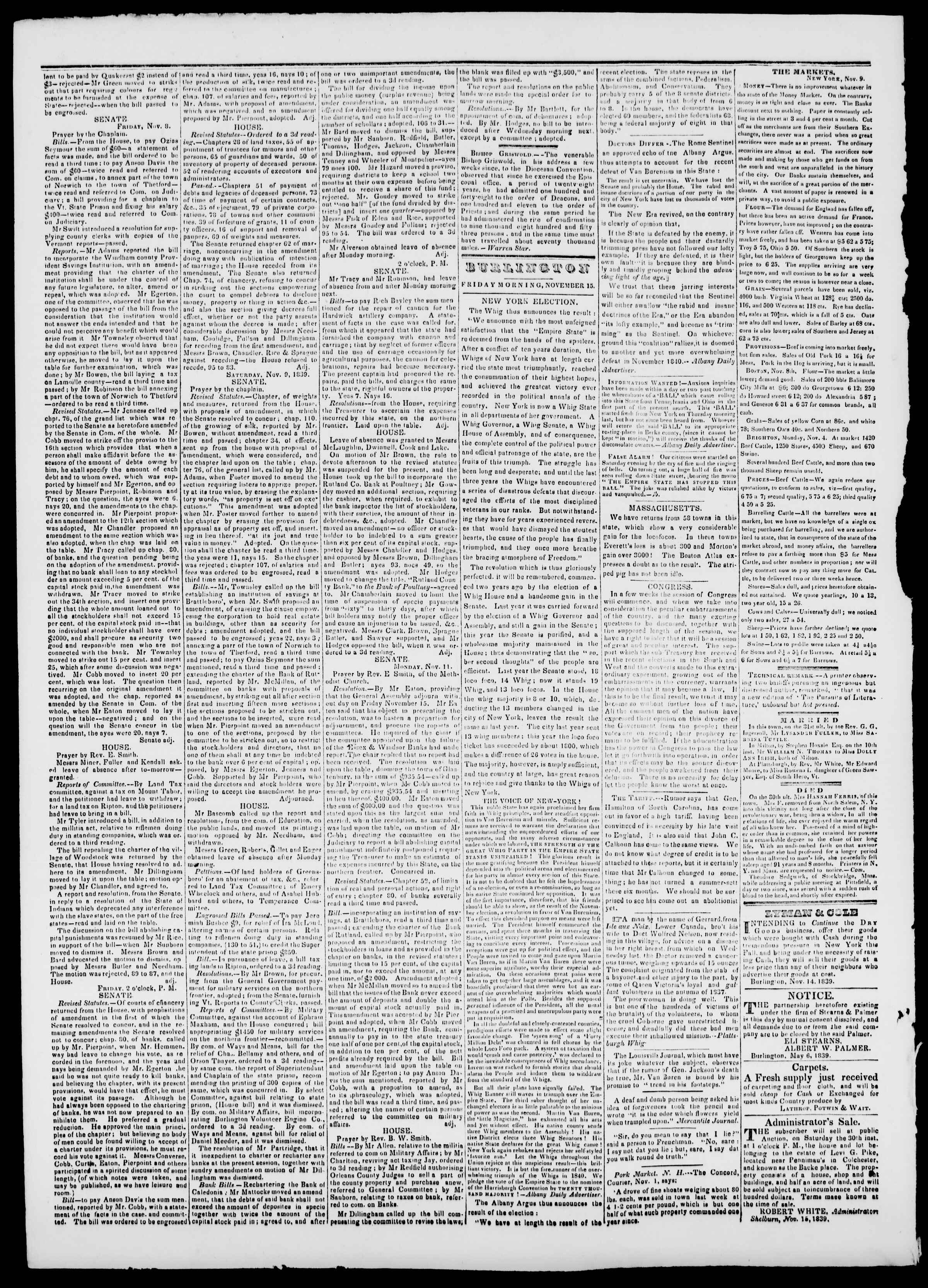 Newspaper of Burlington Free Press dated November 15, 1839 Page 2