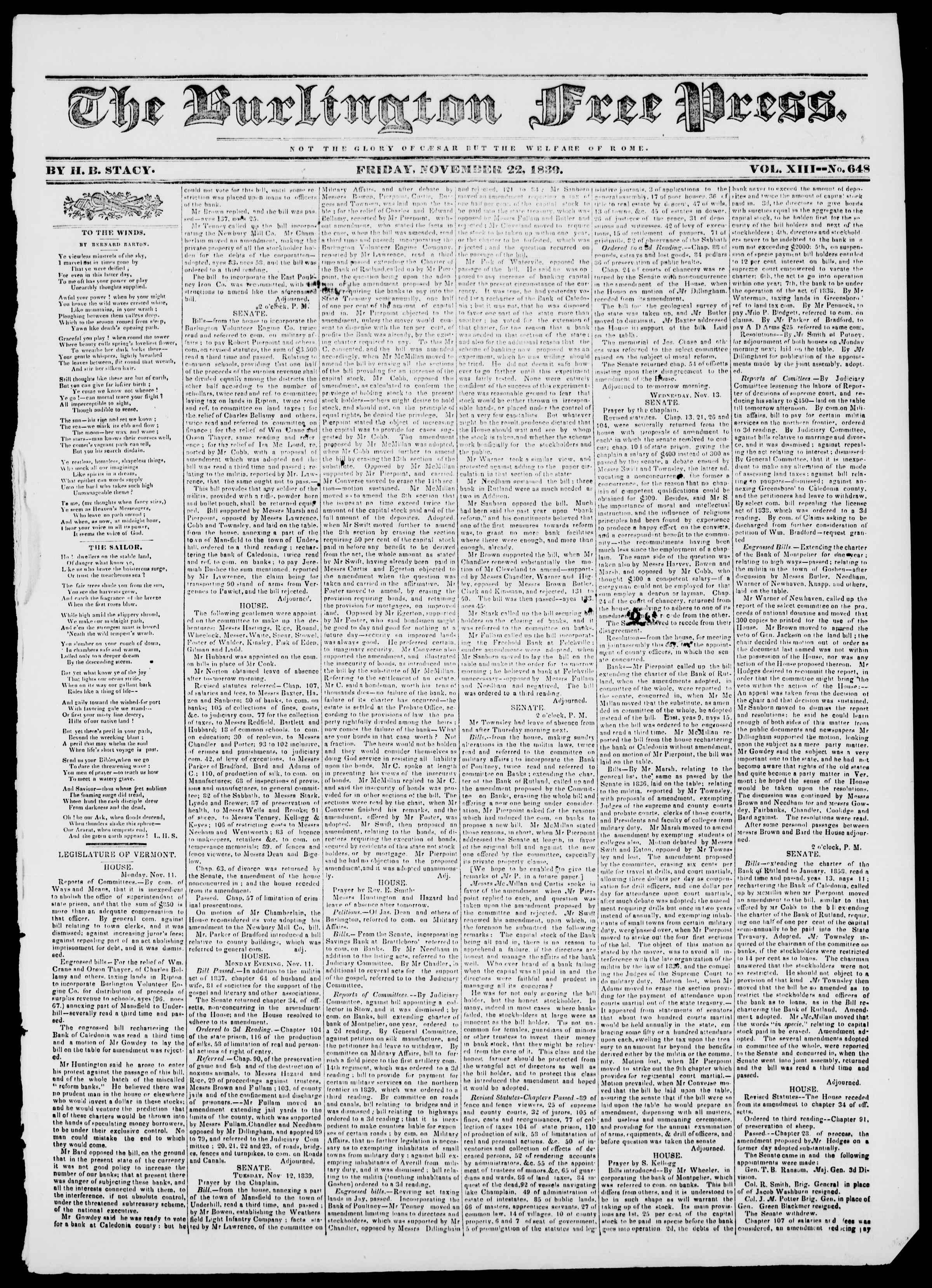 Newspaper of Burlington Free Press dated November 22, 1839 Page 1