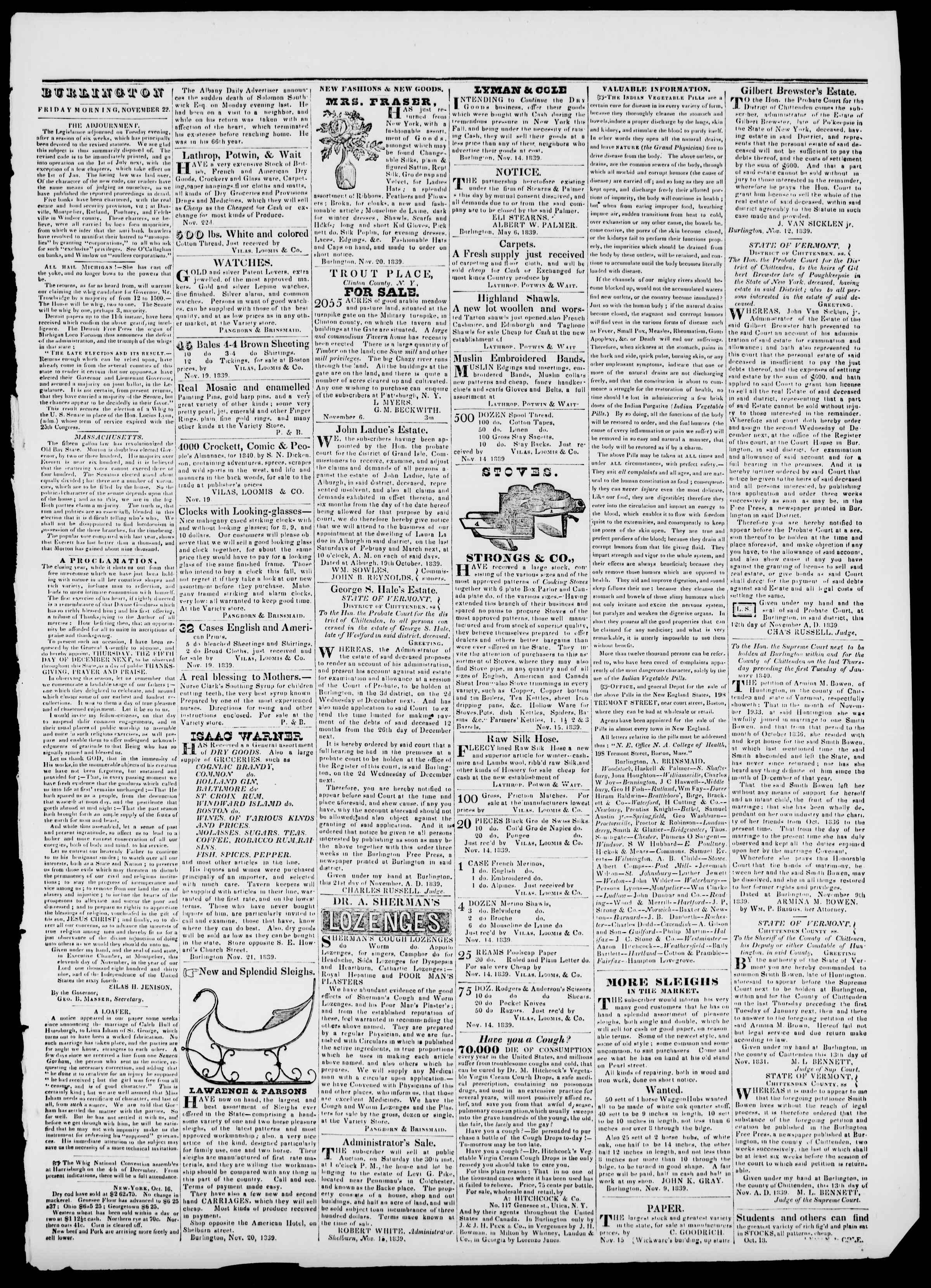 Newspaper of Burlington Free Press dated November 22, 1839 Page 3