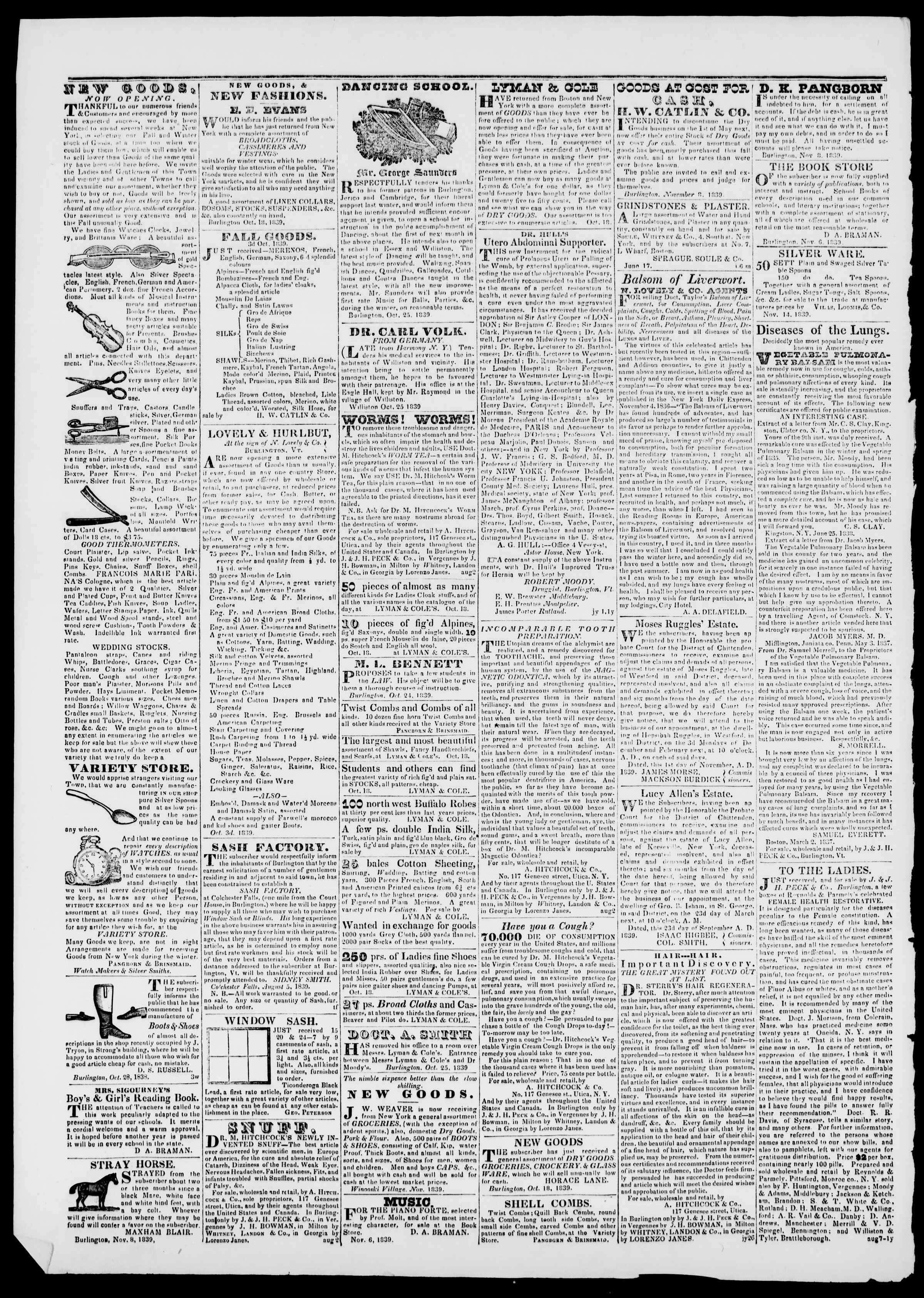 Newspaper of Burlington Free Press dated November 22, 1839 Page 4