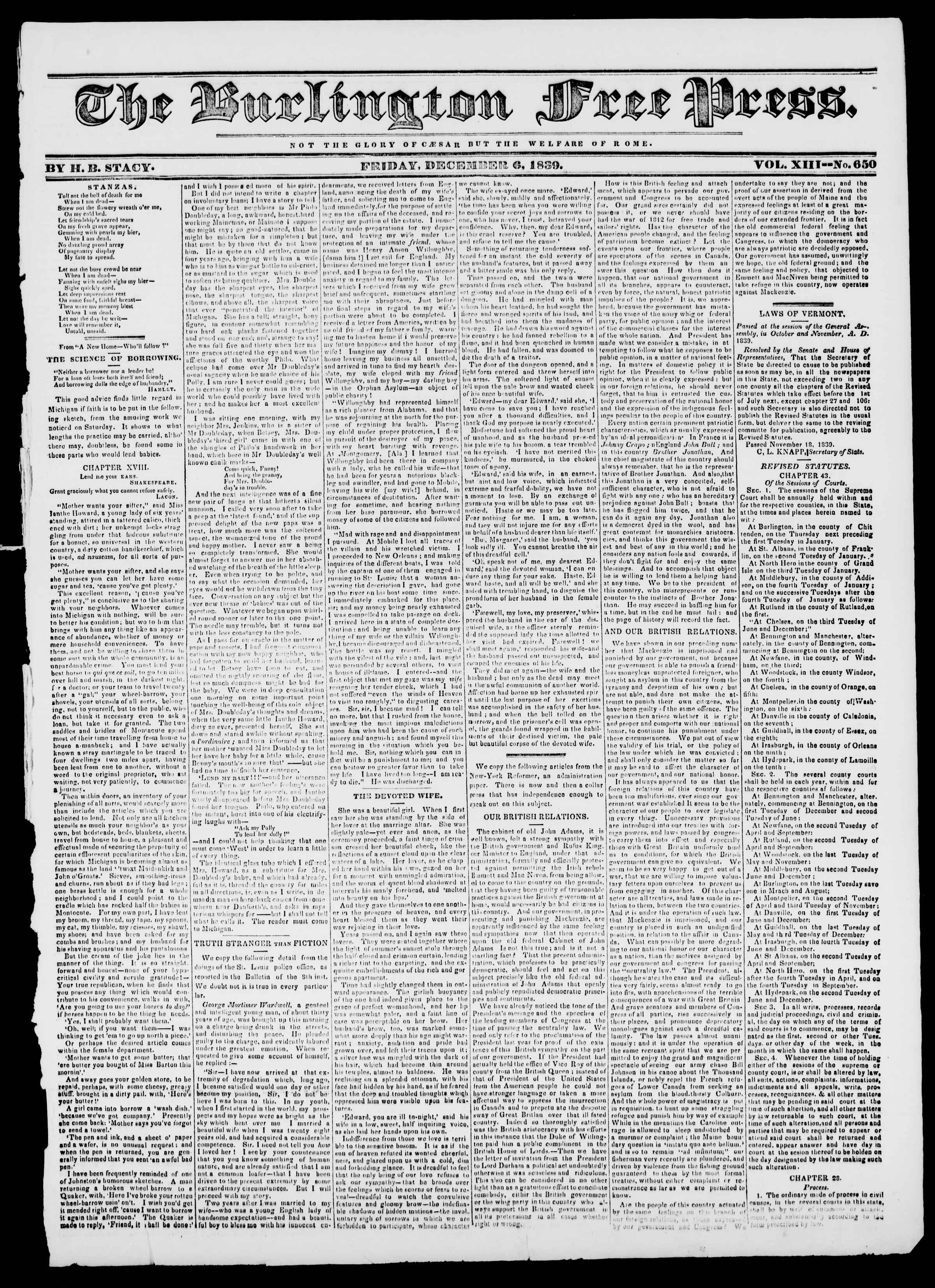 Newspaper of Burlington Free Press dated December 6, 1839 Page 1