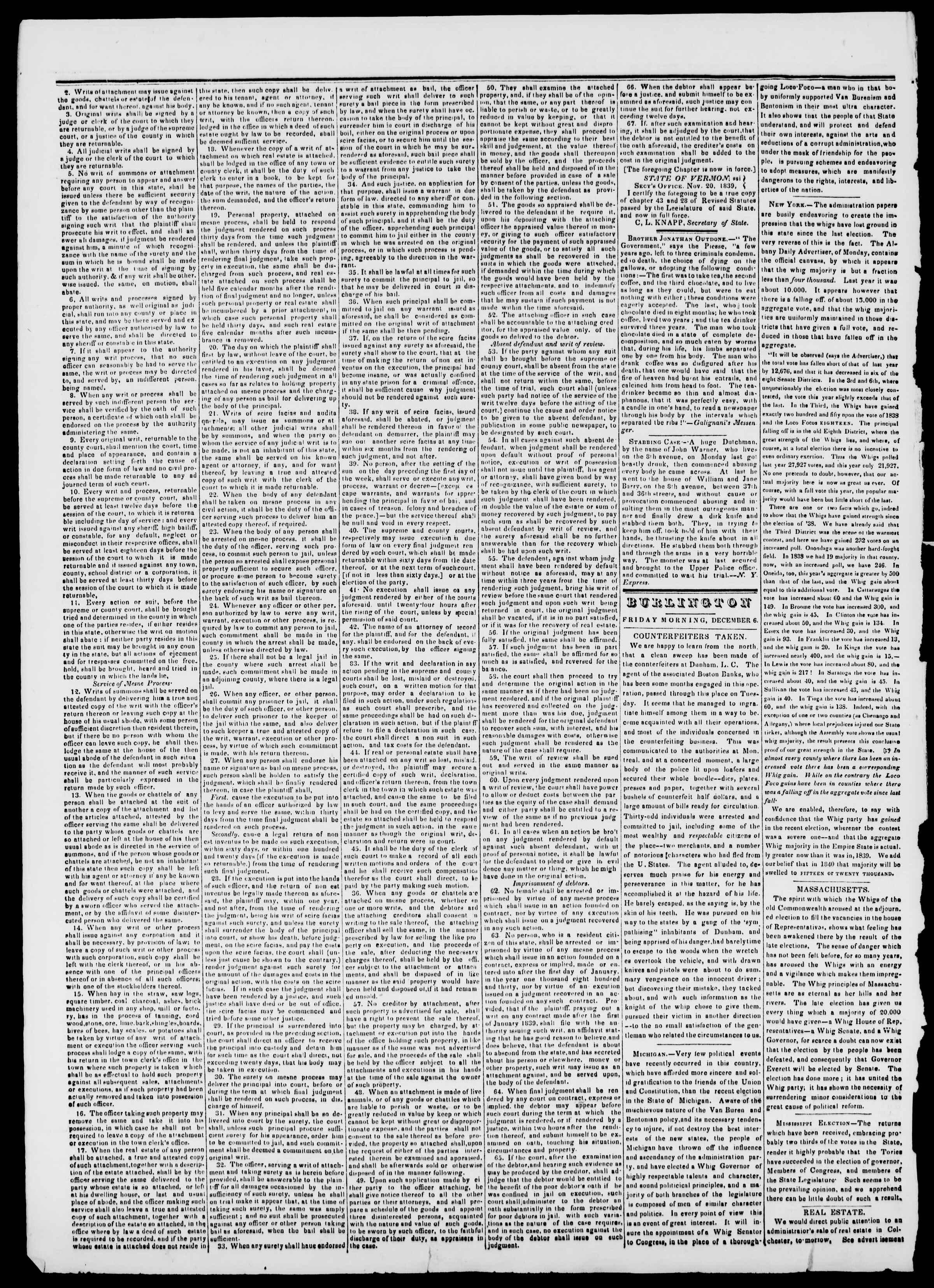 Newspaper of Burlington Free Press dated December 6, 1839 Page 2
