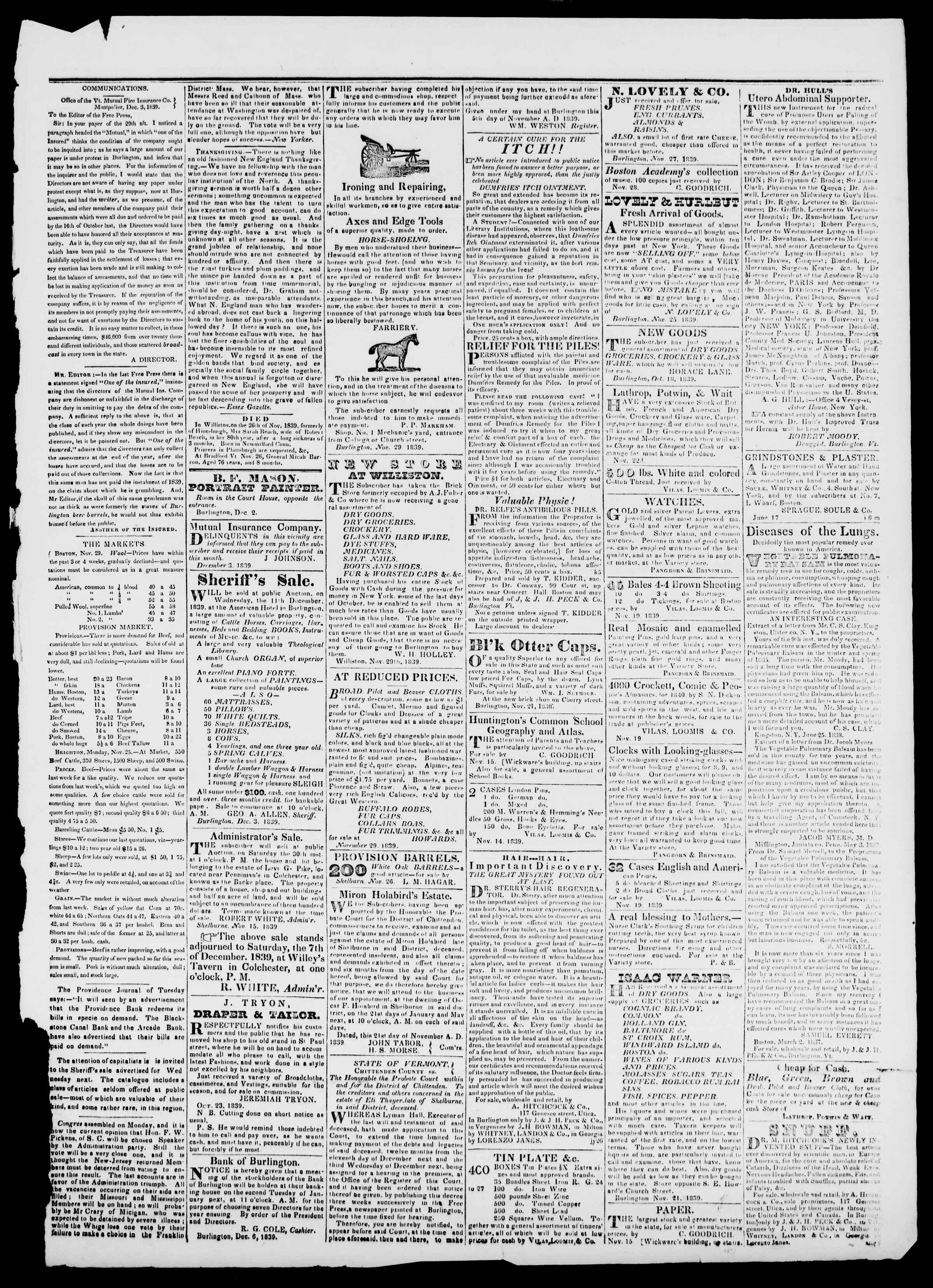 Newspaper of Burlington Free Press dated December 6, 1839 Page 3