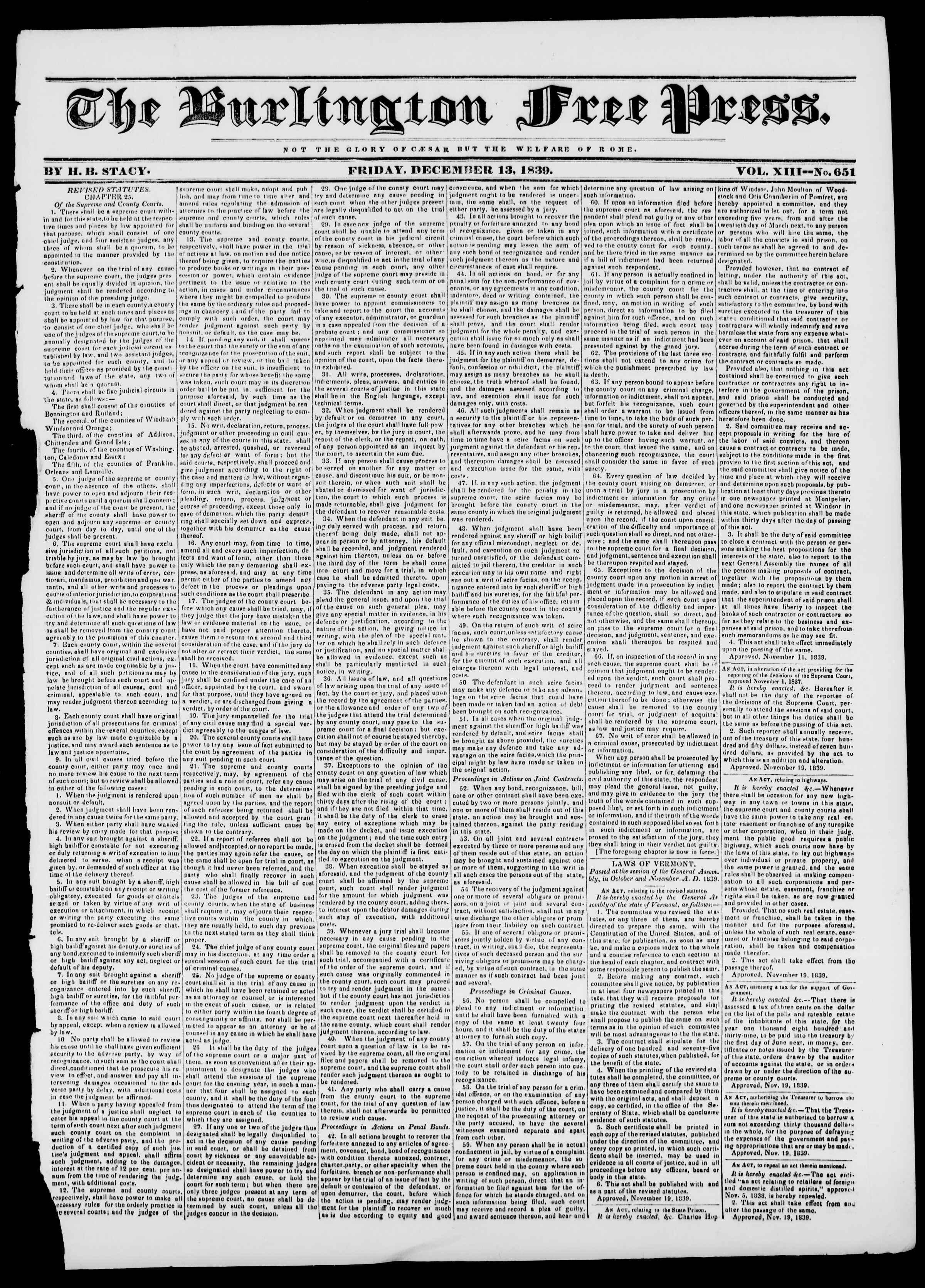 Newspaper of Burlington Free Press dated December 13, 1839 Page 1