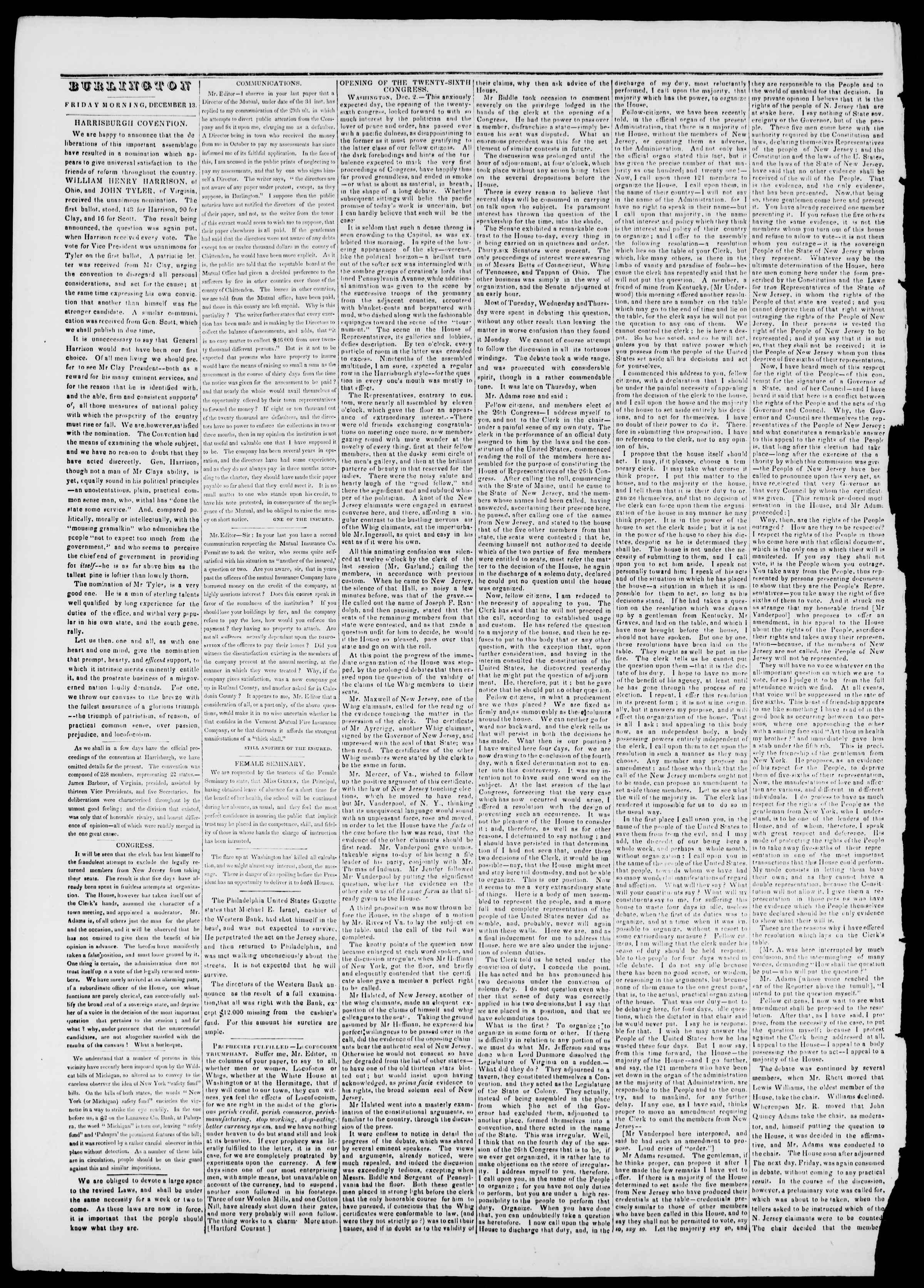 Newspaper of Burlington Free Press dated December 13, 1839 Page 2