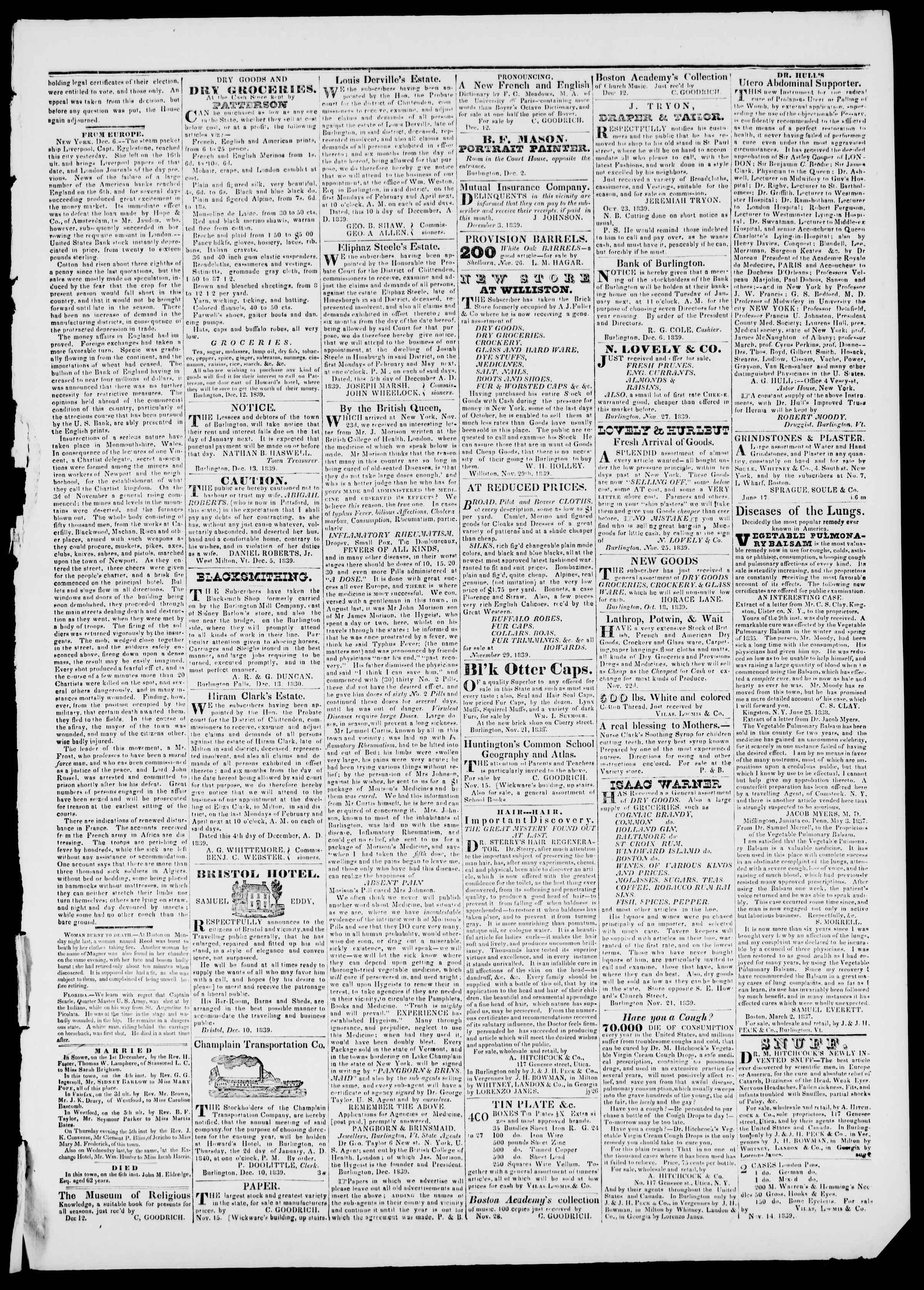 Newspaper of Burlington Free Press dated December 13, 1839 Page 3