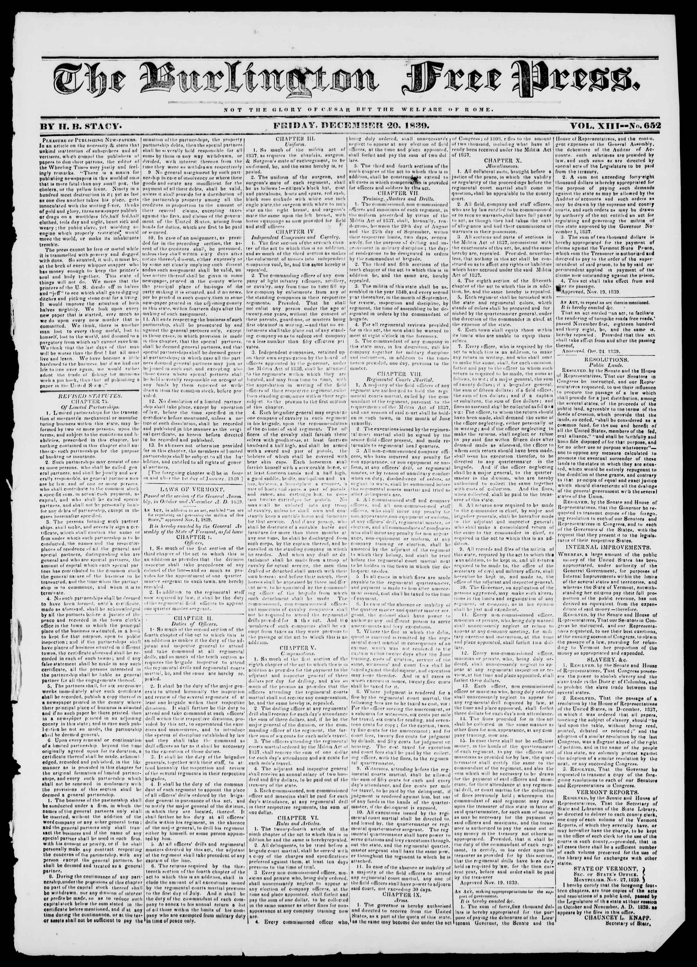 Newspaper of Burlington Free Press dated December 20, 1839 Page 1