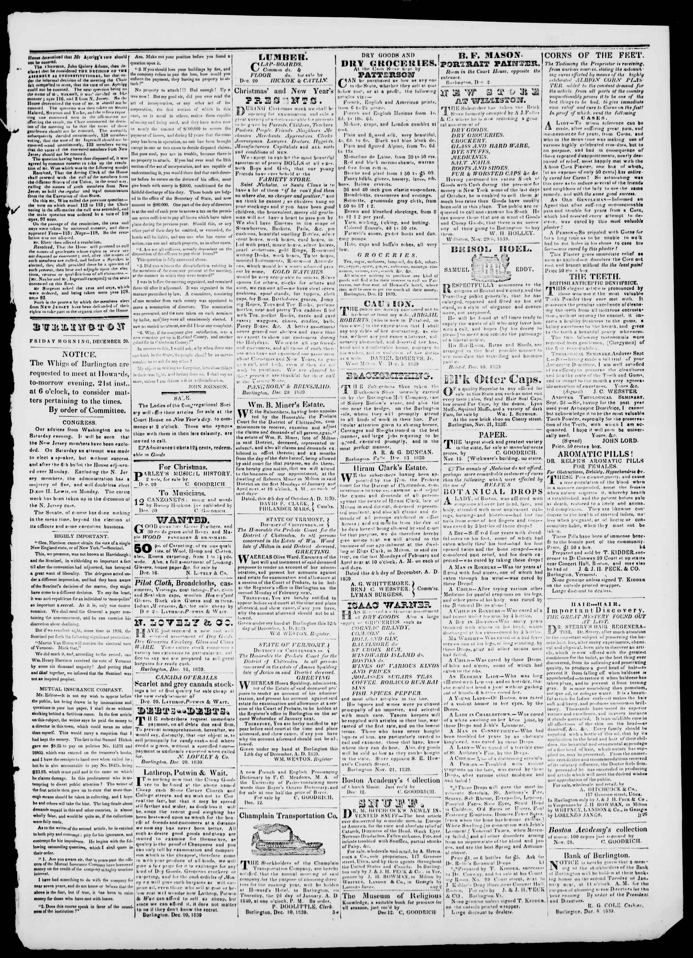 Newspaper of Burlington Free Press dated 20 Aralık 1839 Page 3