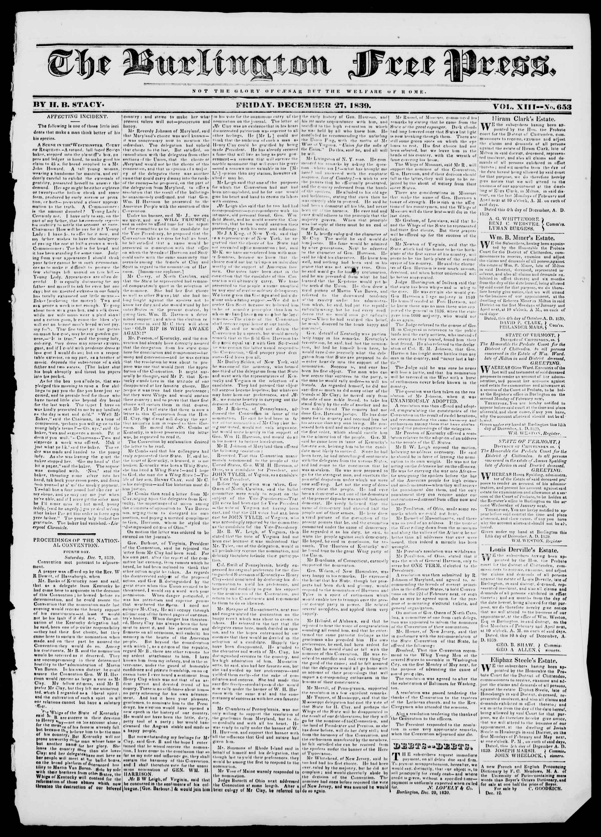 Newspaper of Burlington Free Press dated December 27, 1839 Page 1