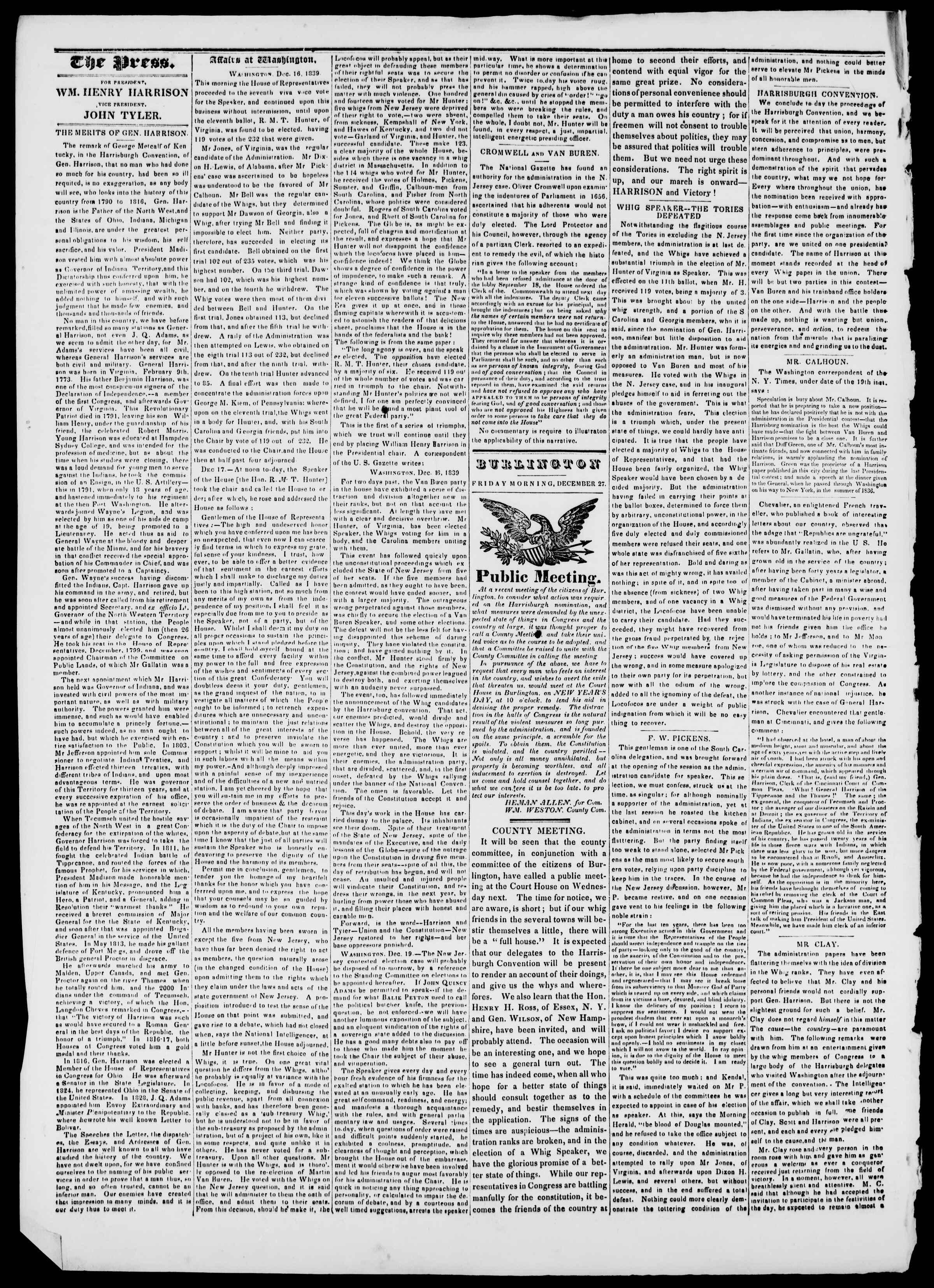 Newspaper of Burlington Free Press dated December 27, 1839 Page 2