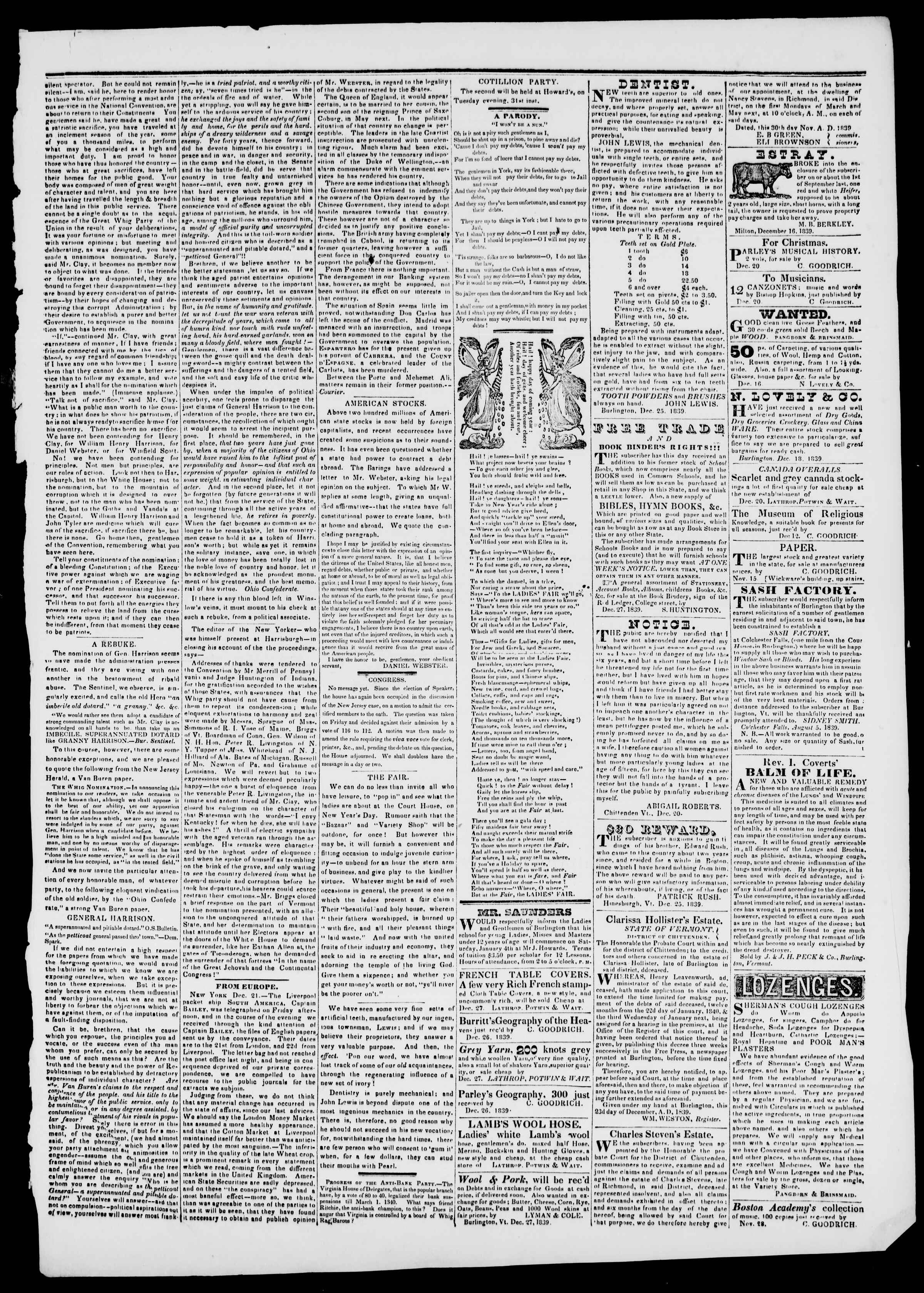 Newspaper of Burlington Free Press dated December 27, 1839 Page 3