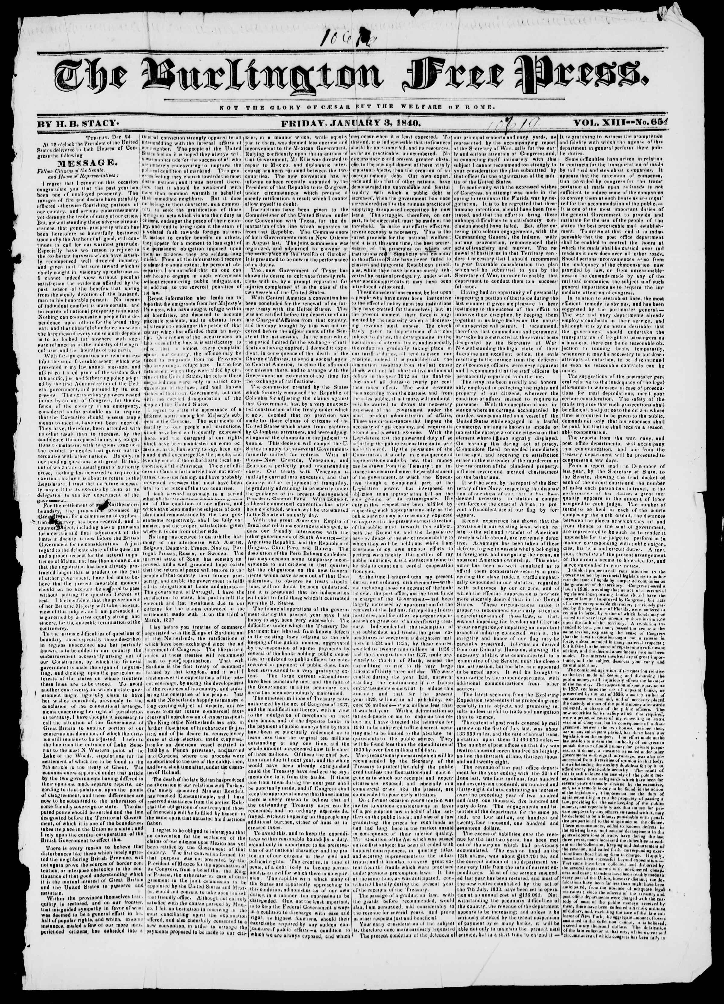 Newspaper of Burlington Free Press dated January 3, 1840 Page 1