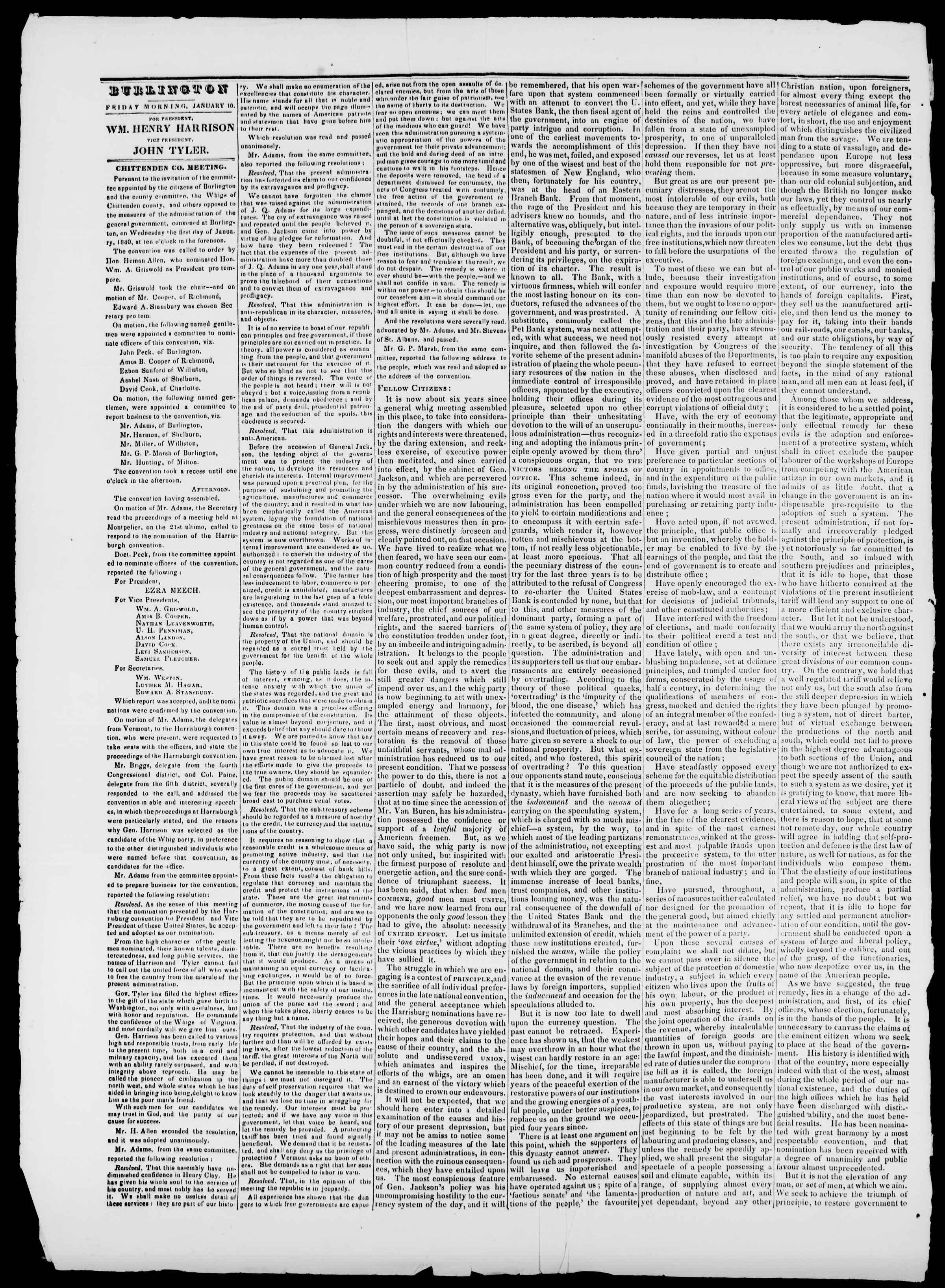 Newspaper of Burlington Free Press dated January 10, 1840 Page 2